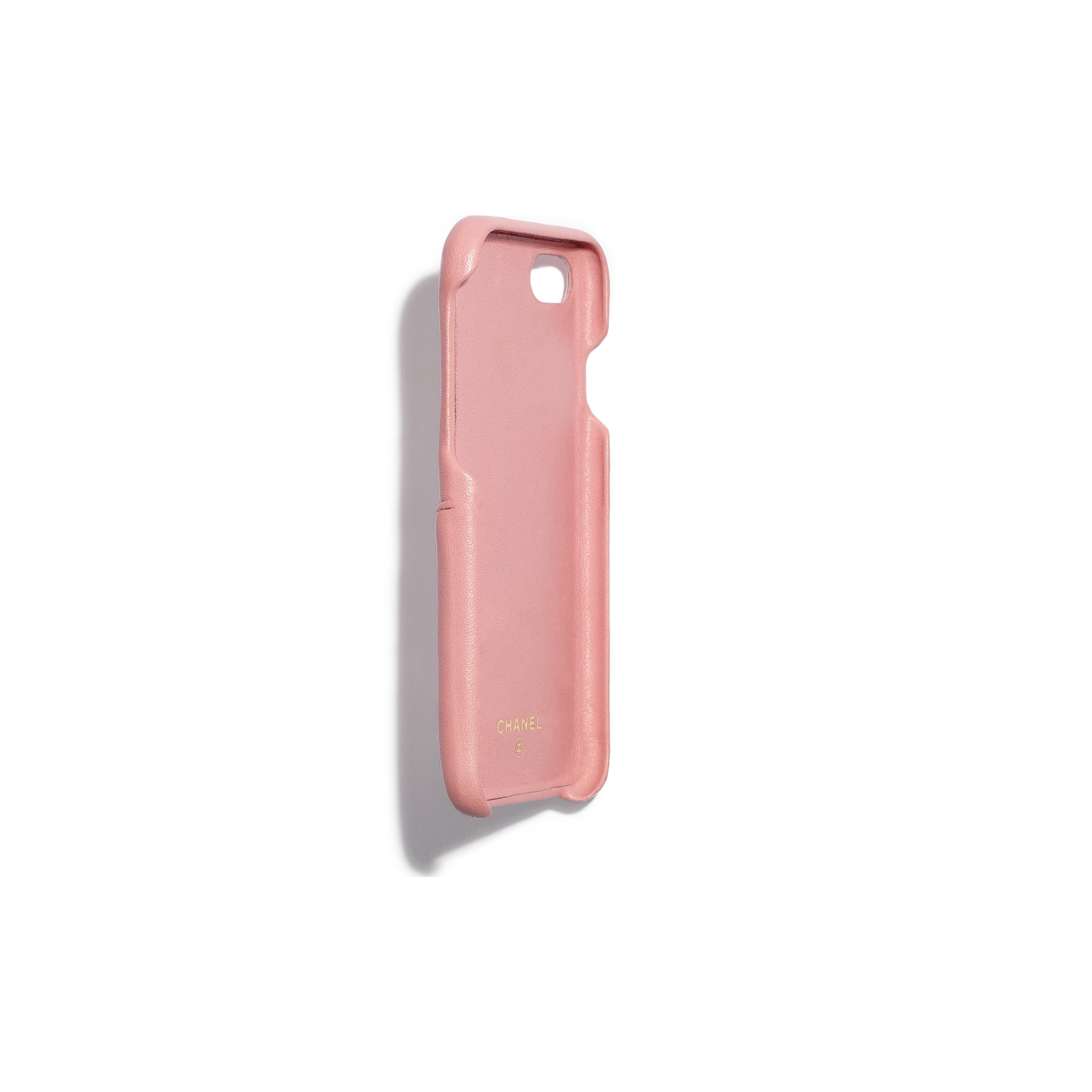Classic Case for iPhone 7 & 8 - Pink - Lambskin & Gold-Tone Metal - Other view - see standard sized version