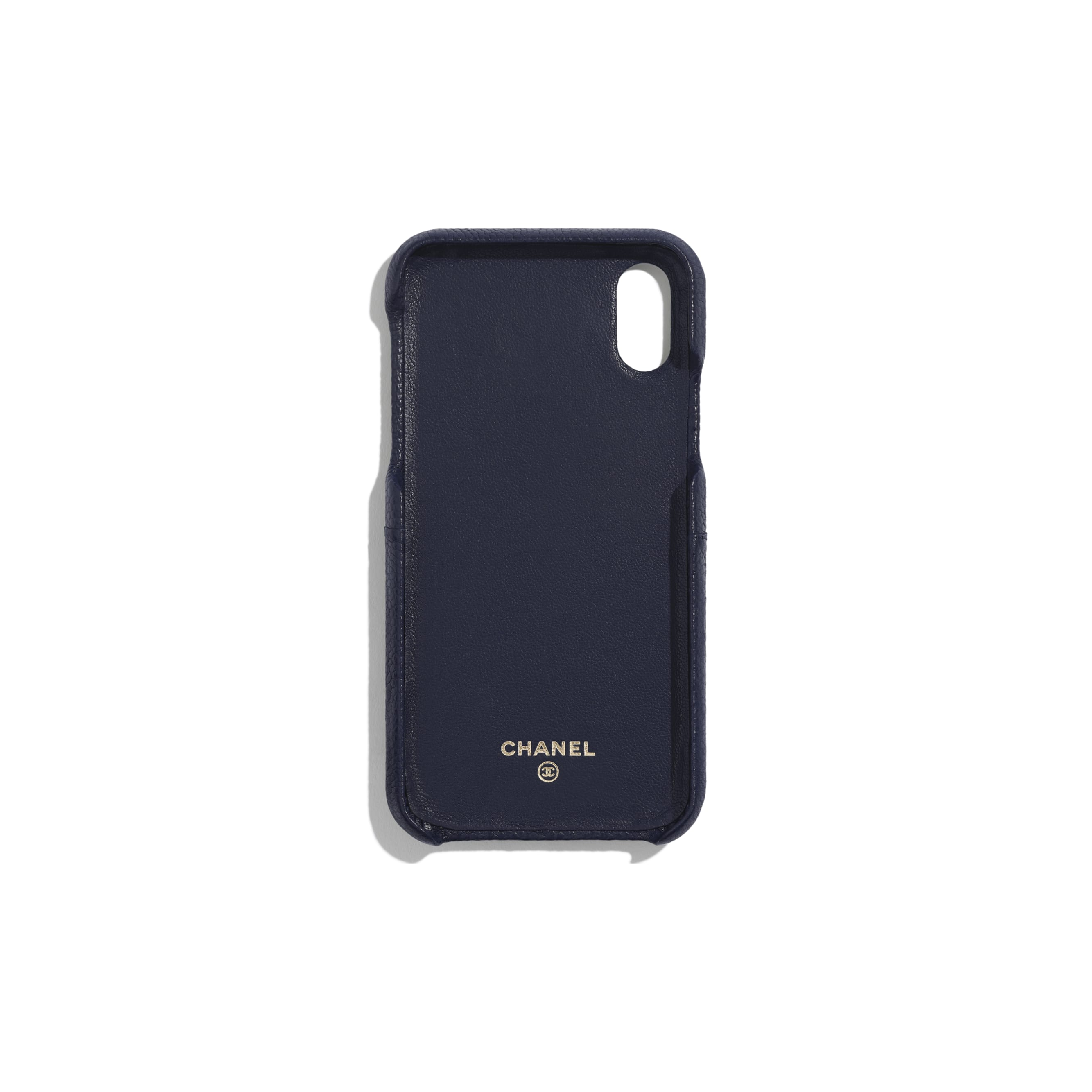 Classic Case for iPhone X - Navy Blue - Grained Lambskin & Gold-Tone Metal - Alternative view - see standard sized version