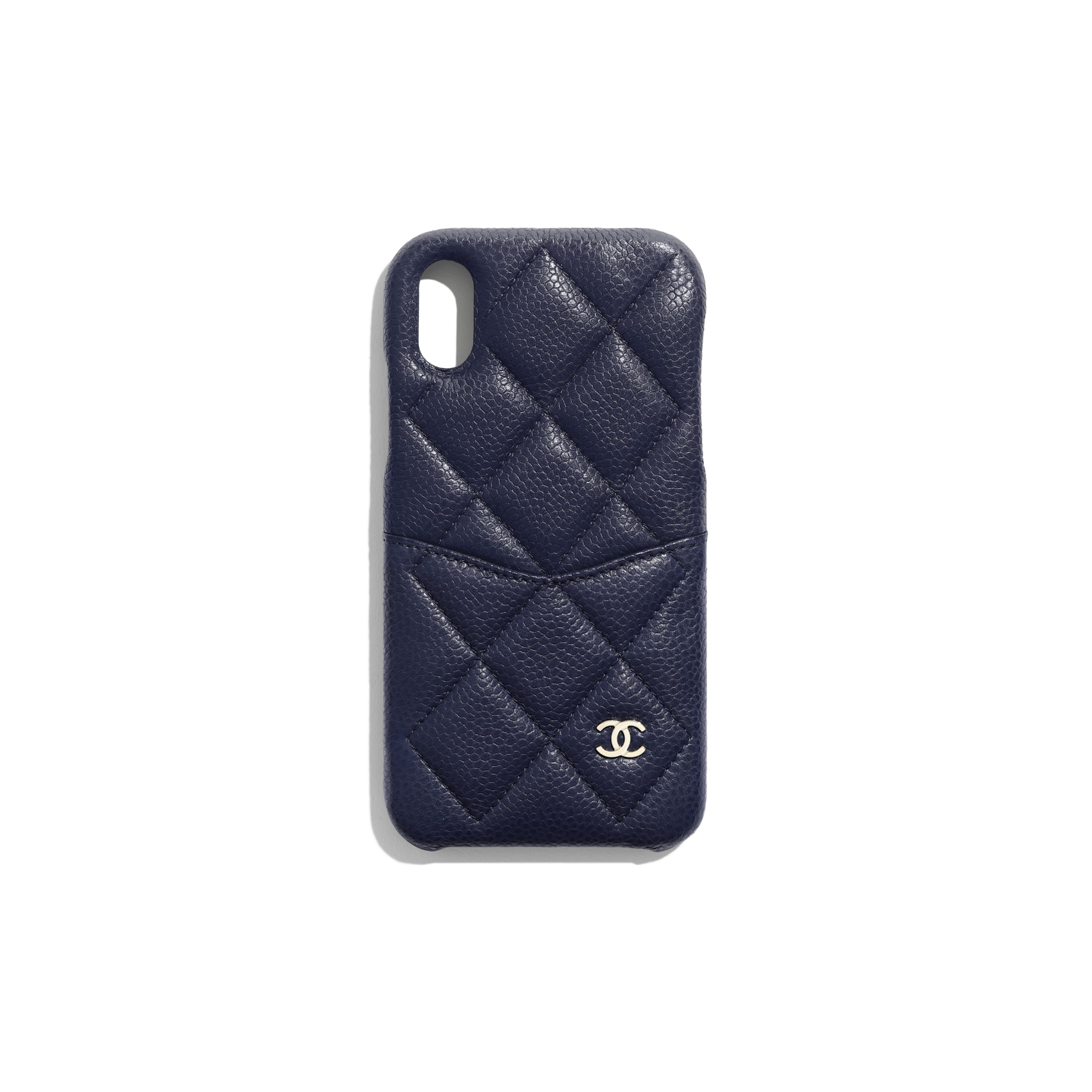 Classic Case for iPhone X - Navy Blue - Grained Lambskin & Gold-Tone Metal - Default view - see standard sized version