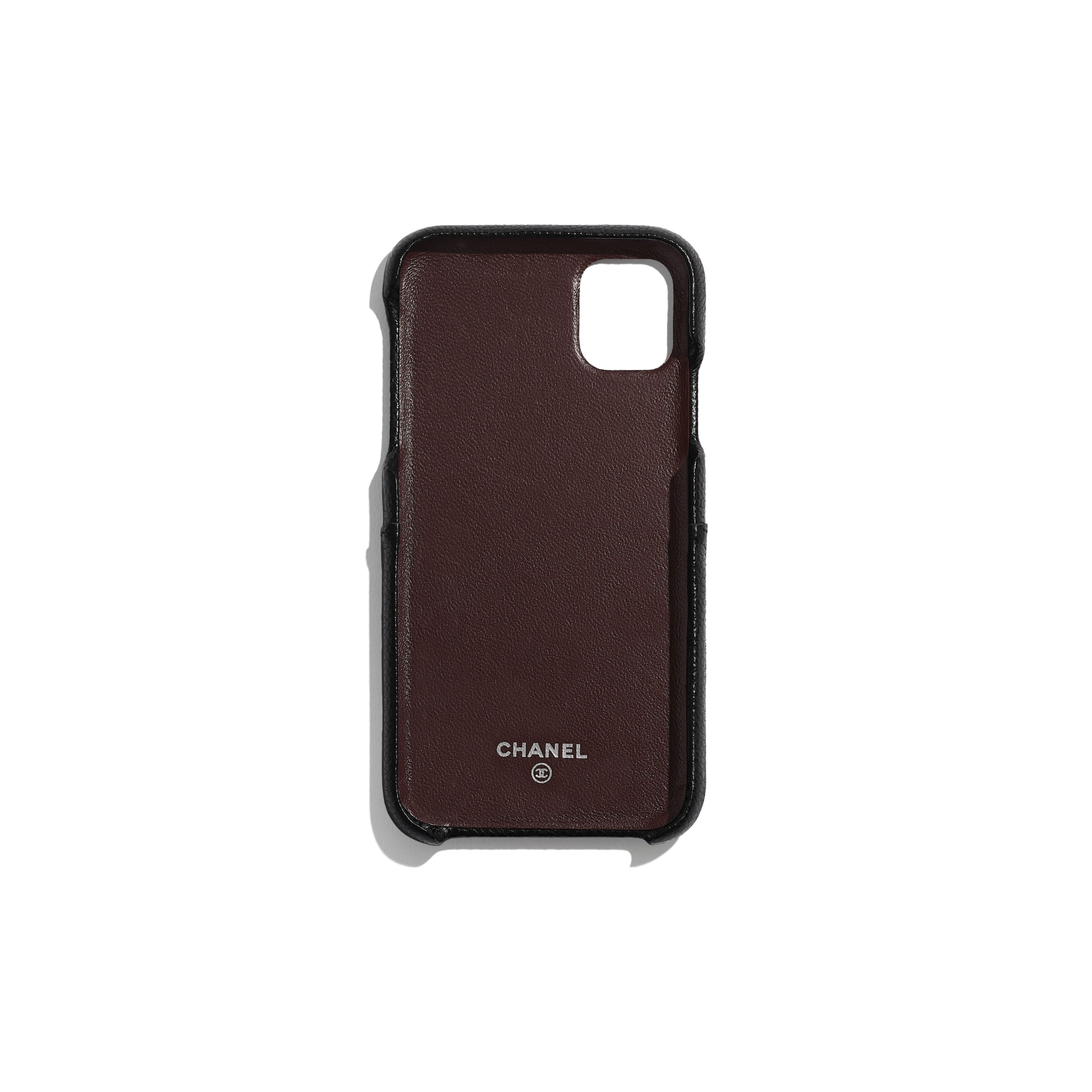 Classic Case for iPhone XI Pro - Black - Grained Lambskin & Silver-Tone Metal - Alternative view - see standard sized version