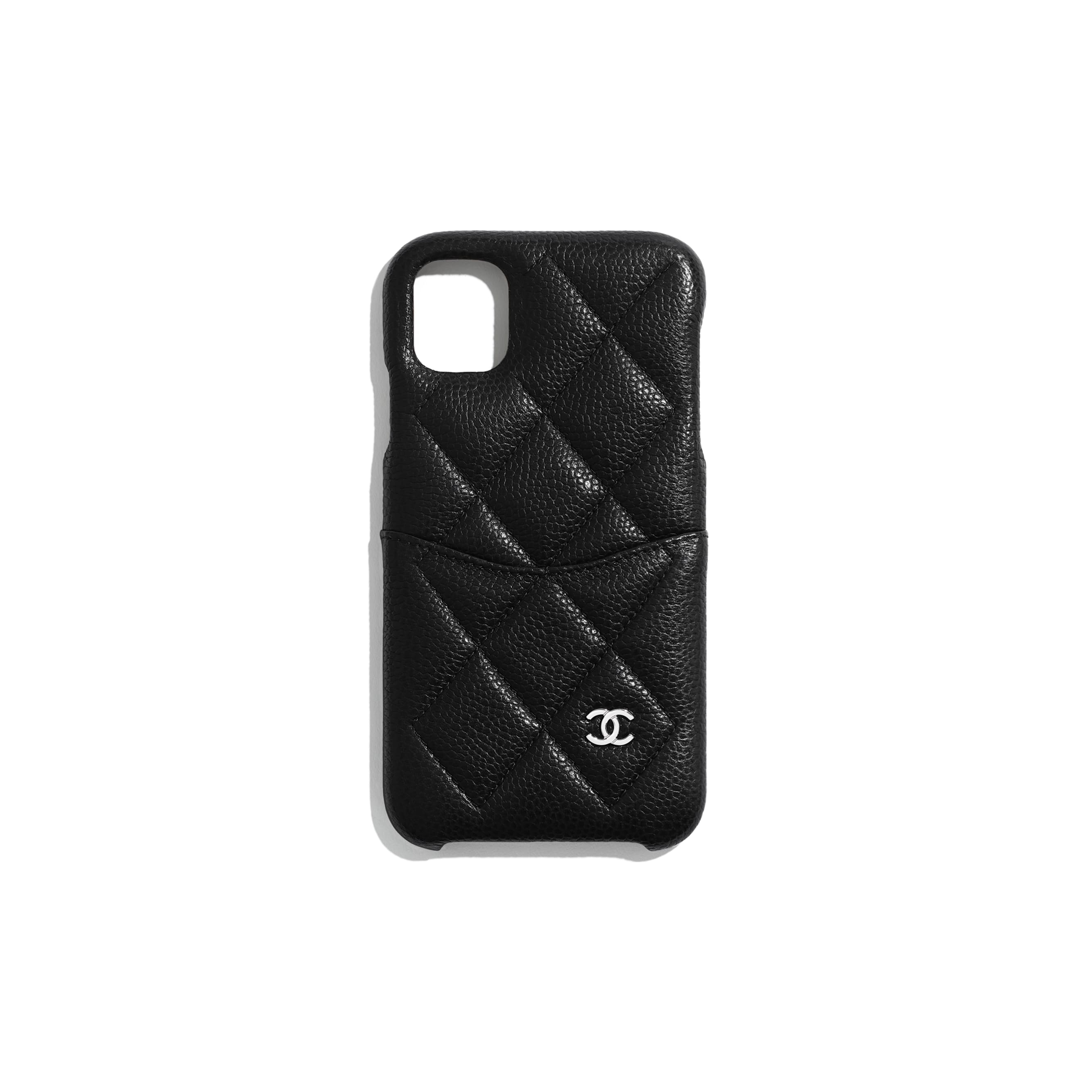 Classic Case for iPhone XI Pro - Black - Grained Lambskin & Silver-Tone Metal - Default view - see standard sized version