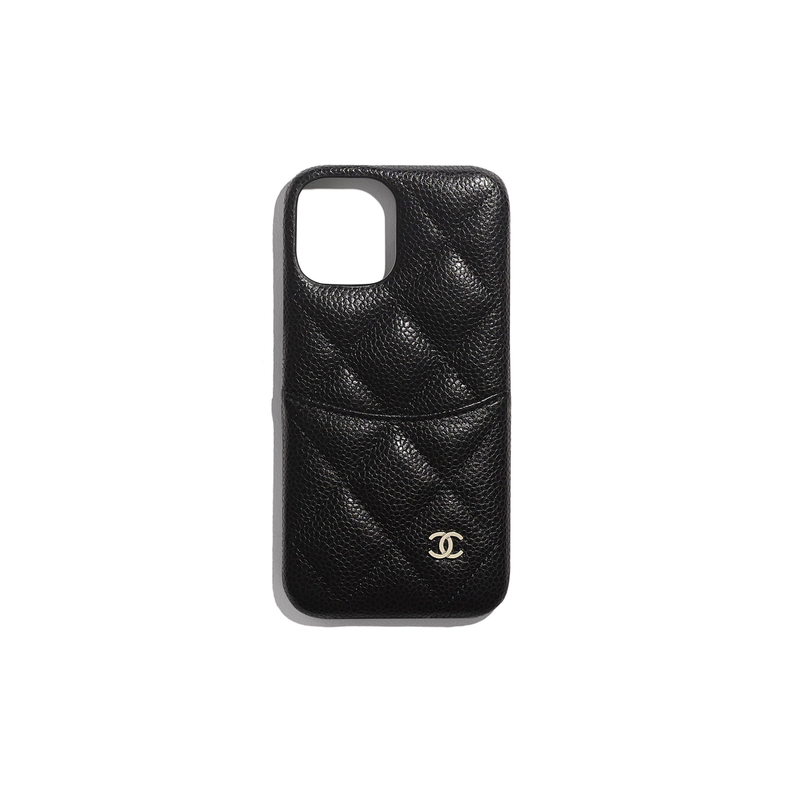 Classic Case for iPhone XII Pro - Black - Grained Lambskin & Gold-Tone Metal - CHANEL - Default view - see standard sized version