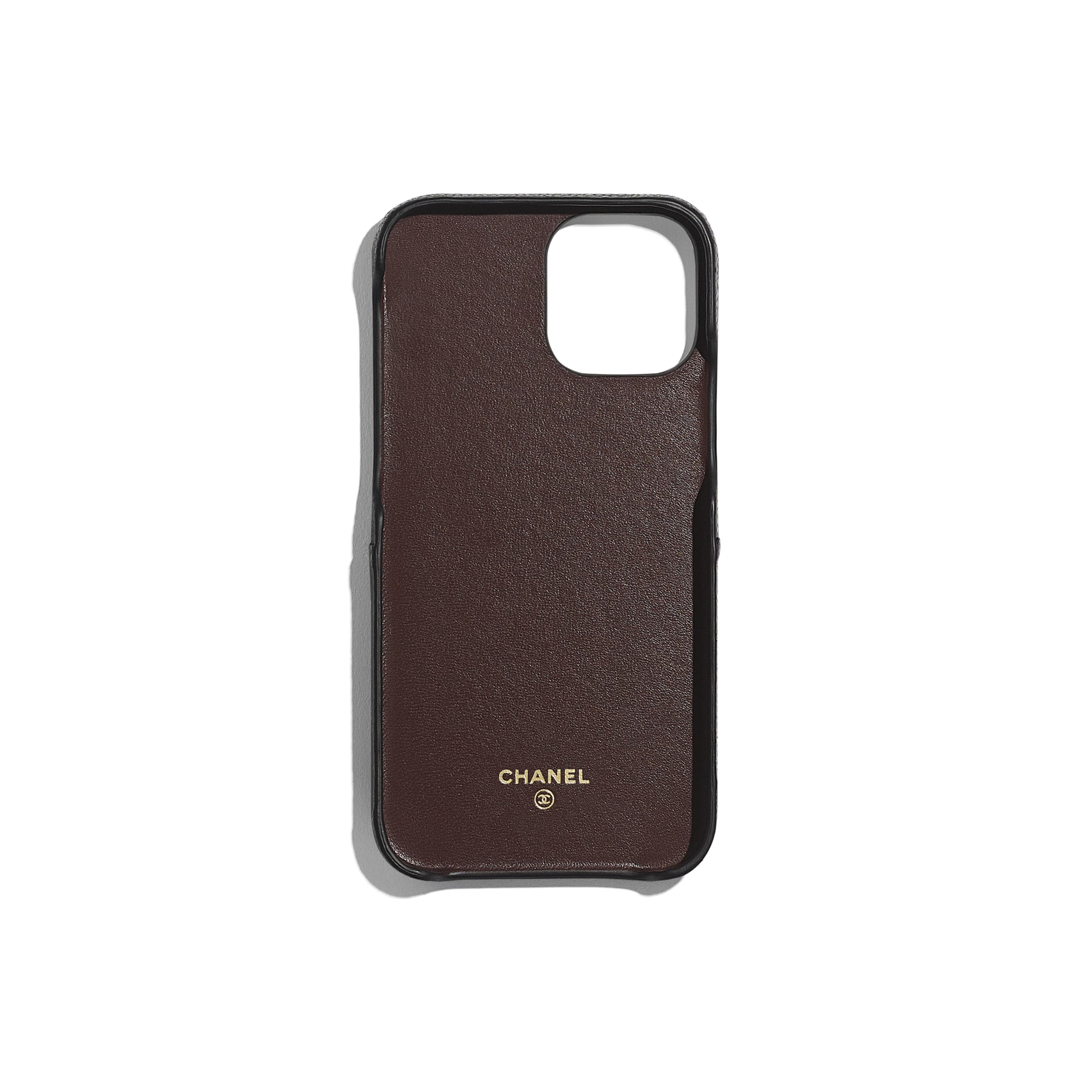 Classic Case for iPhone XII Pro MAX - Black - Grained Lambskin & Gold-Tone Metal - CHANEL - Alternative view - see standard sized version
