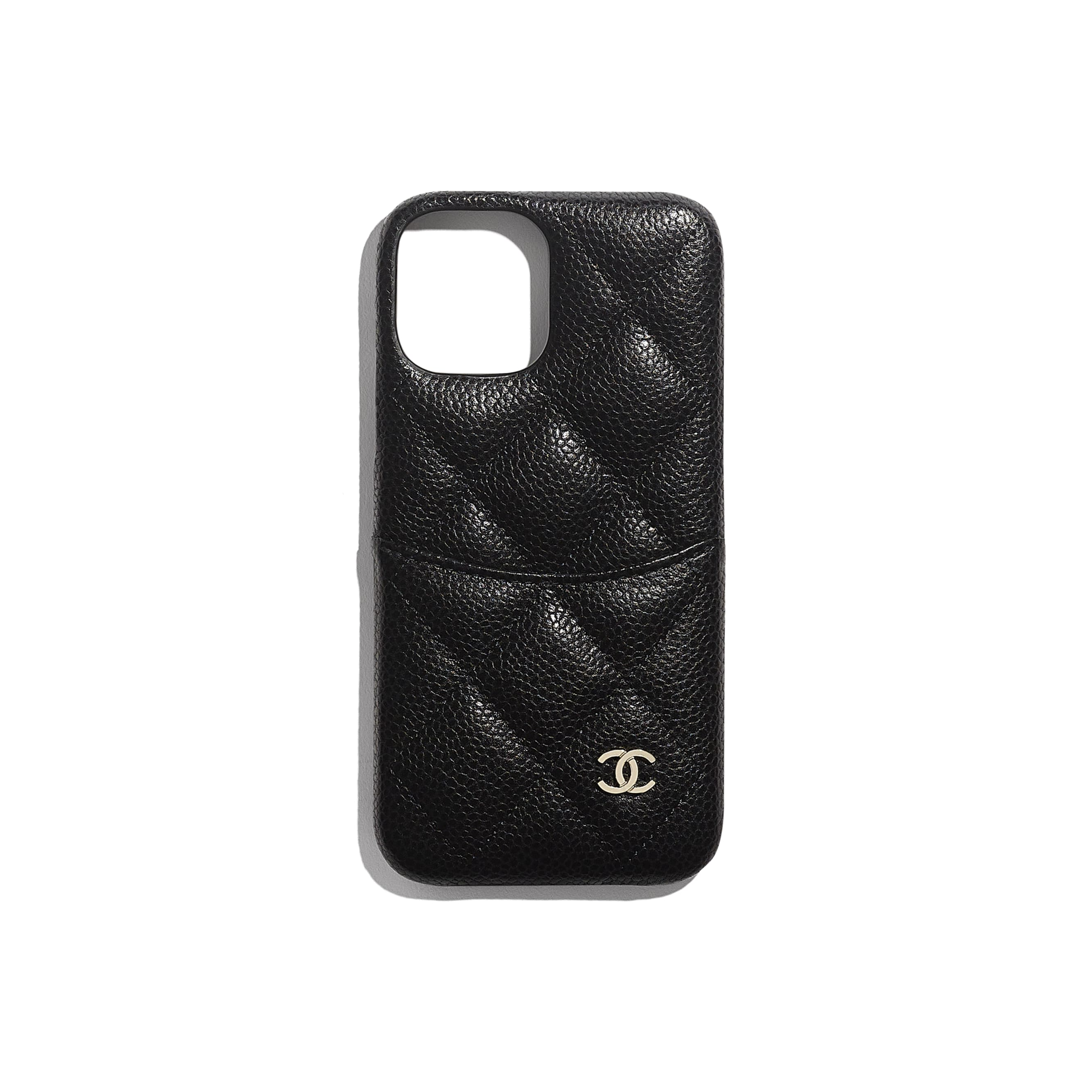 Classic Case for iPhone XII Pro MAX - Black - Grained Lambskin & Gold-Tone Metal - CHANEL - Default view - see standard sized version