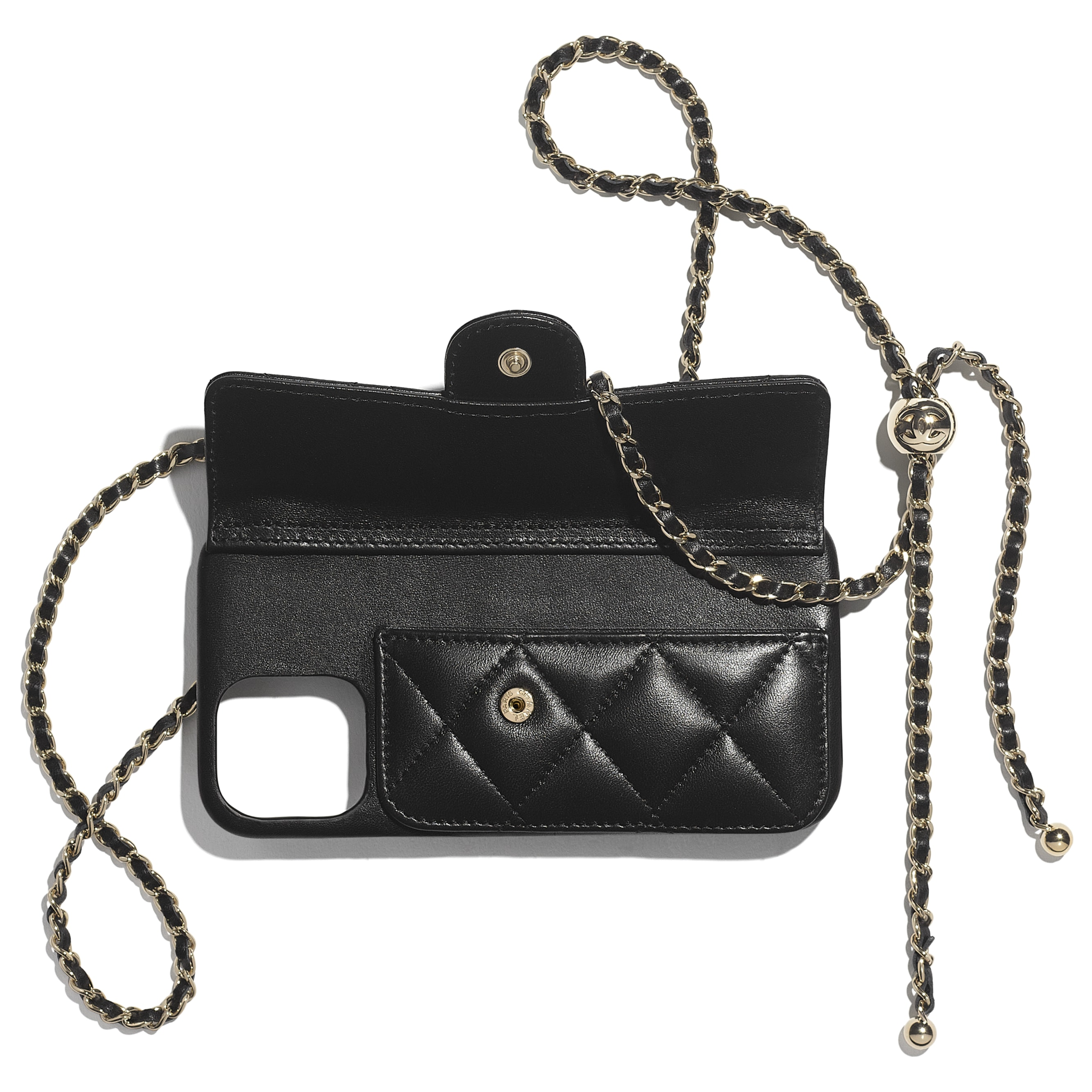 Classic Case for iPhone XII Pro MAX with chain - Black - Lambskin - CHANEL - Alternative view - see standard sized version
