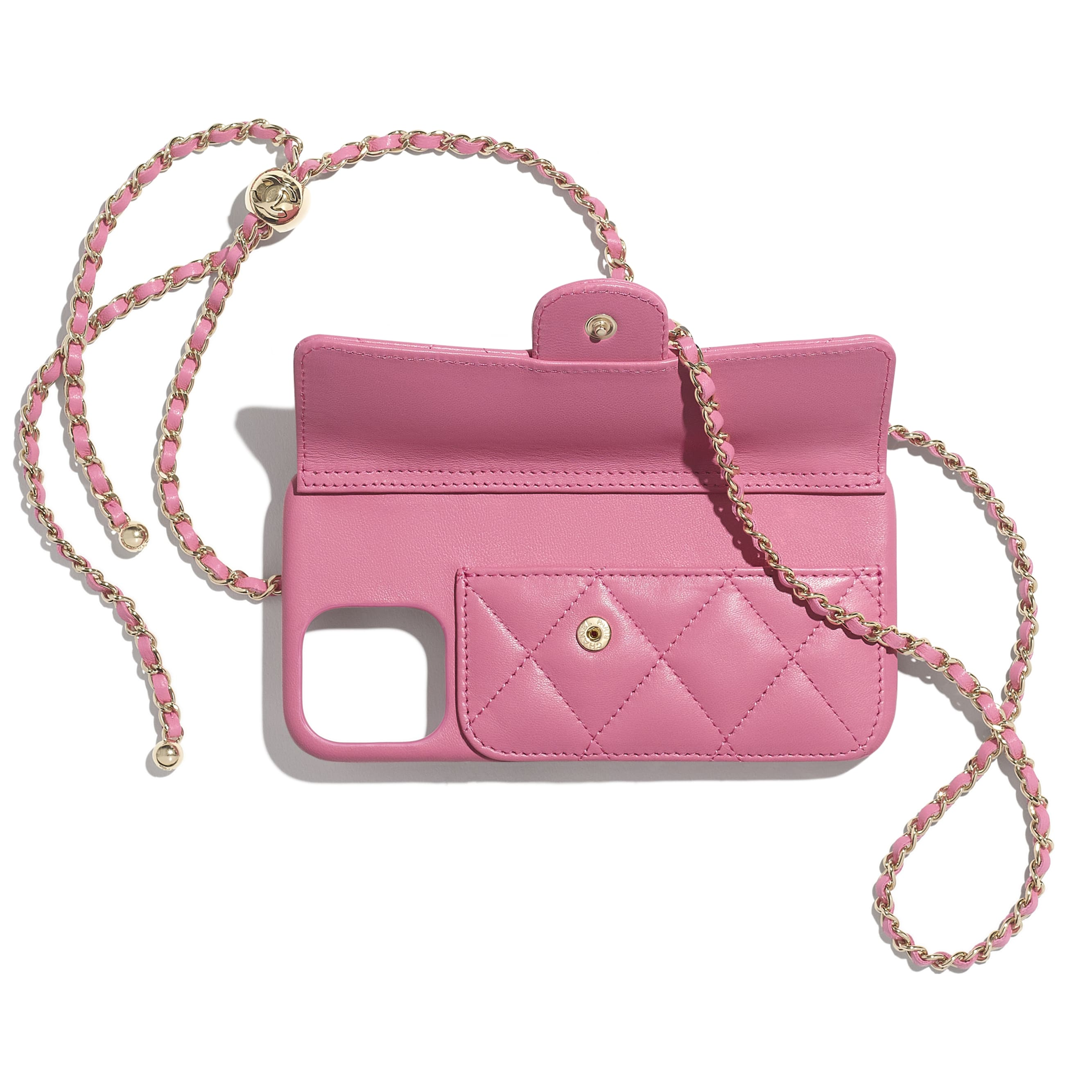 Classic Case for iPhone XII Pro MAX with chain - Pink - Lambskin - CHANEL - Alternative view - see standard sized version