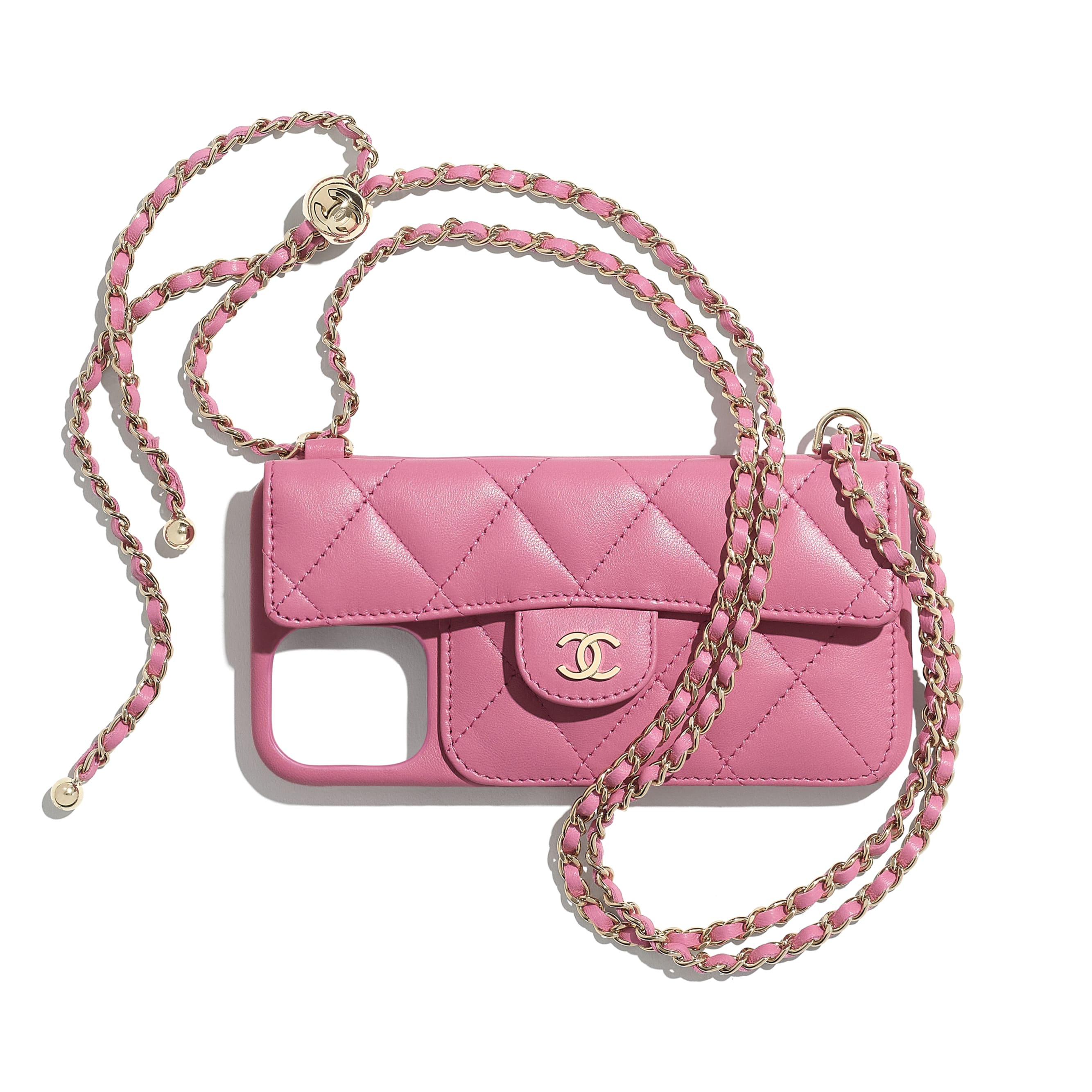 Classic Case for iPhone XII Pro MAX with chain - Pink - Lambskin - CHANEL - Default view - see standard sized version