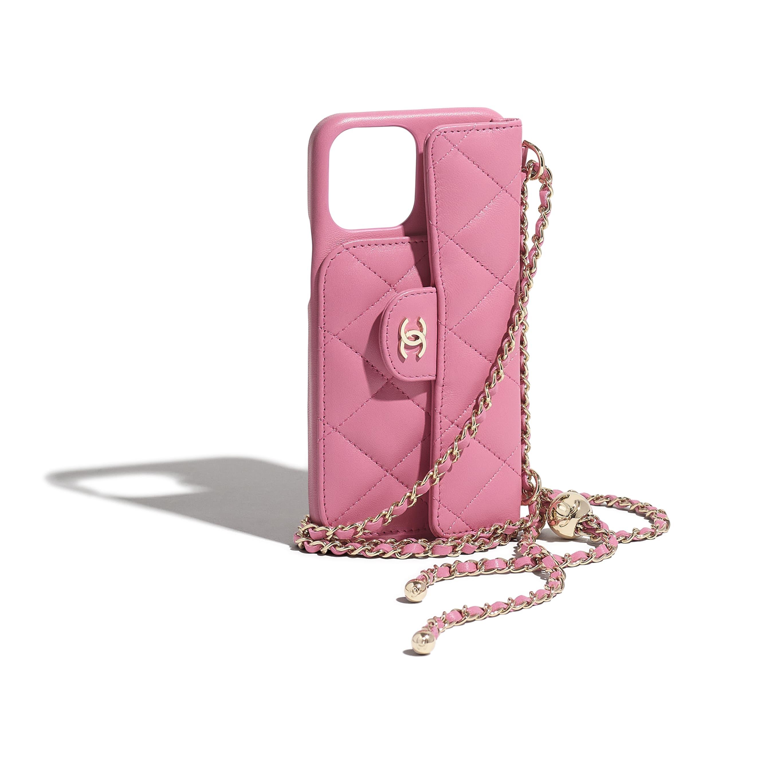 Custodia per iPhone XII Pro MAX classica con catena - Rosa - Pelle di agnello & metallo effetto dorato - CHANEL - Immagine extra - vedere versione standard