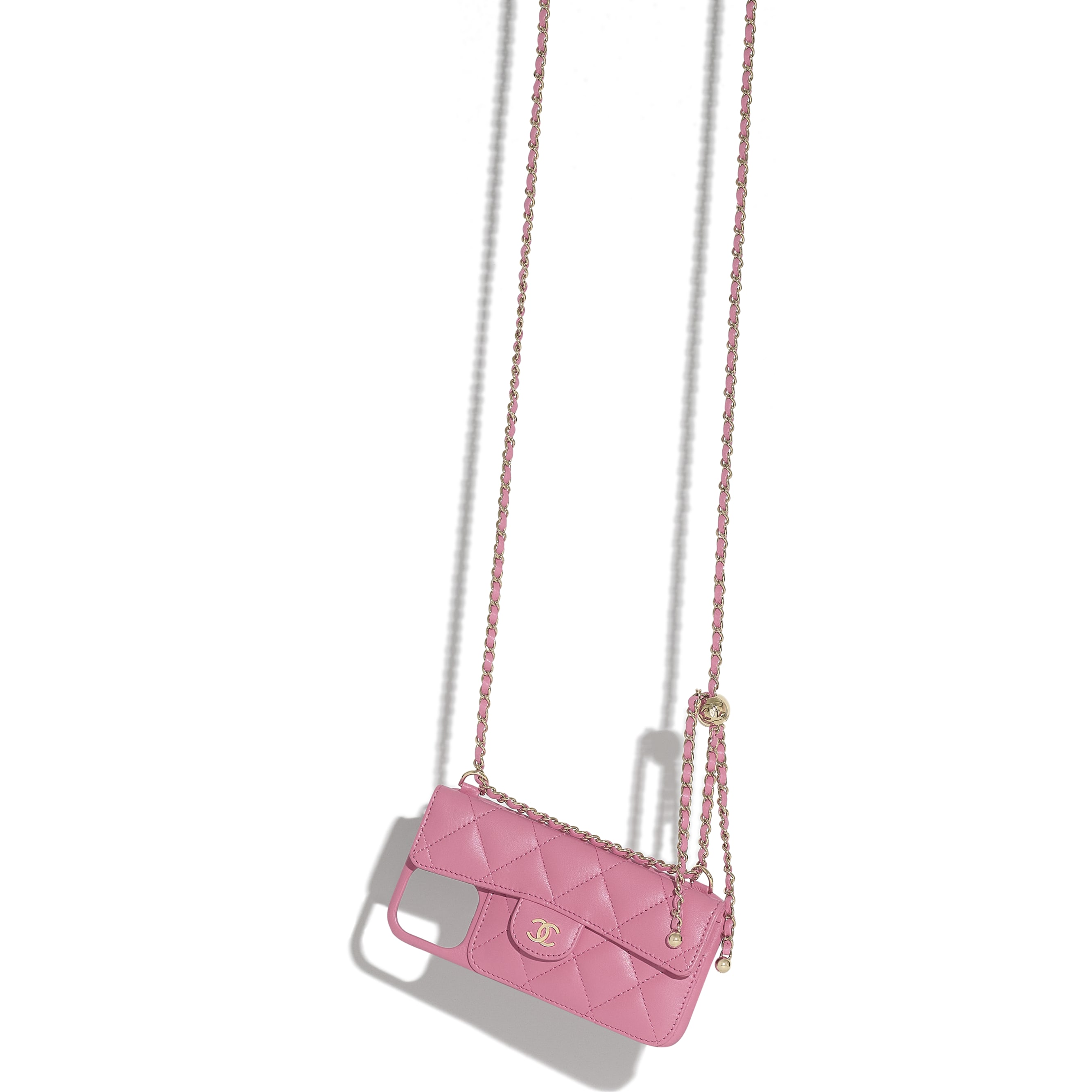 Classic Case for iPhone XII Pro MAX with chain - Pink - Lambskin - CHANEL - Other view - see standard sized version
