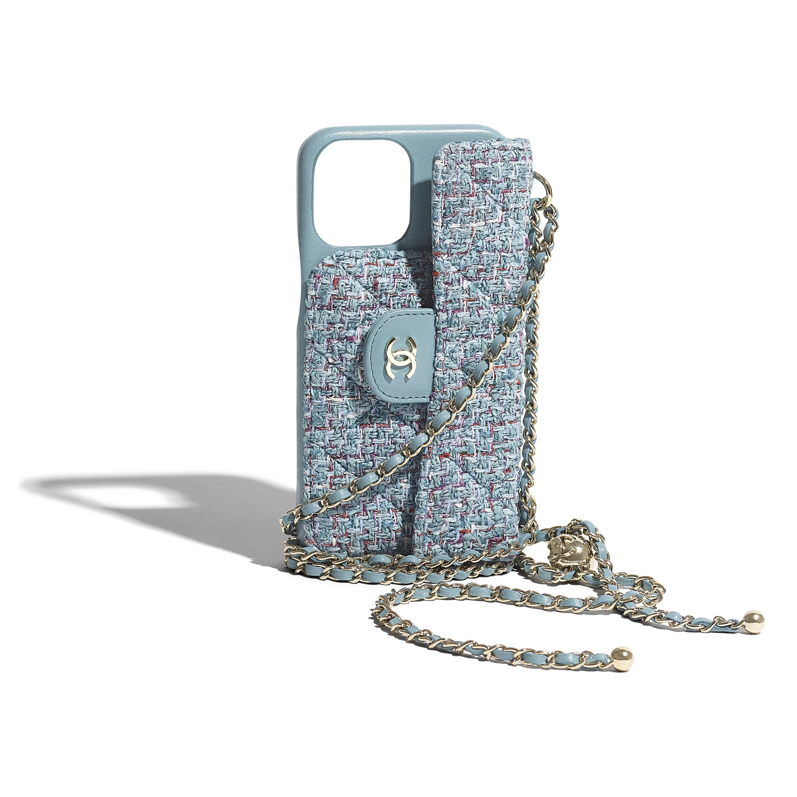Classic Case for iPhone XII Pro MAX with chain - Turquoise, Purple, White & Red - Tweed & Gold Metal - CHANEL - Extra view - see standard sized version