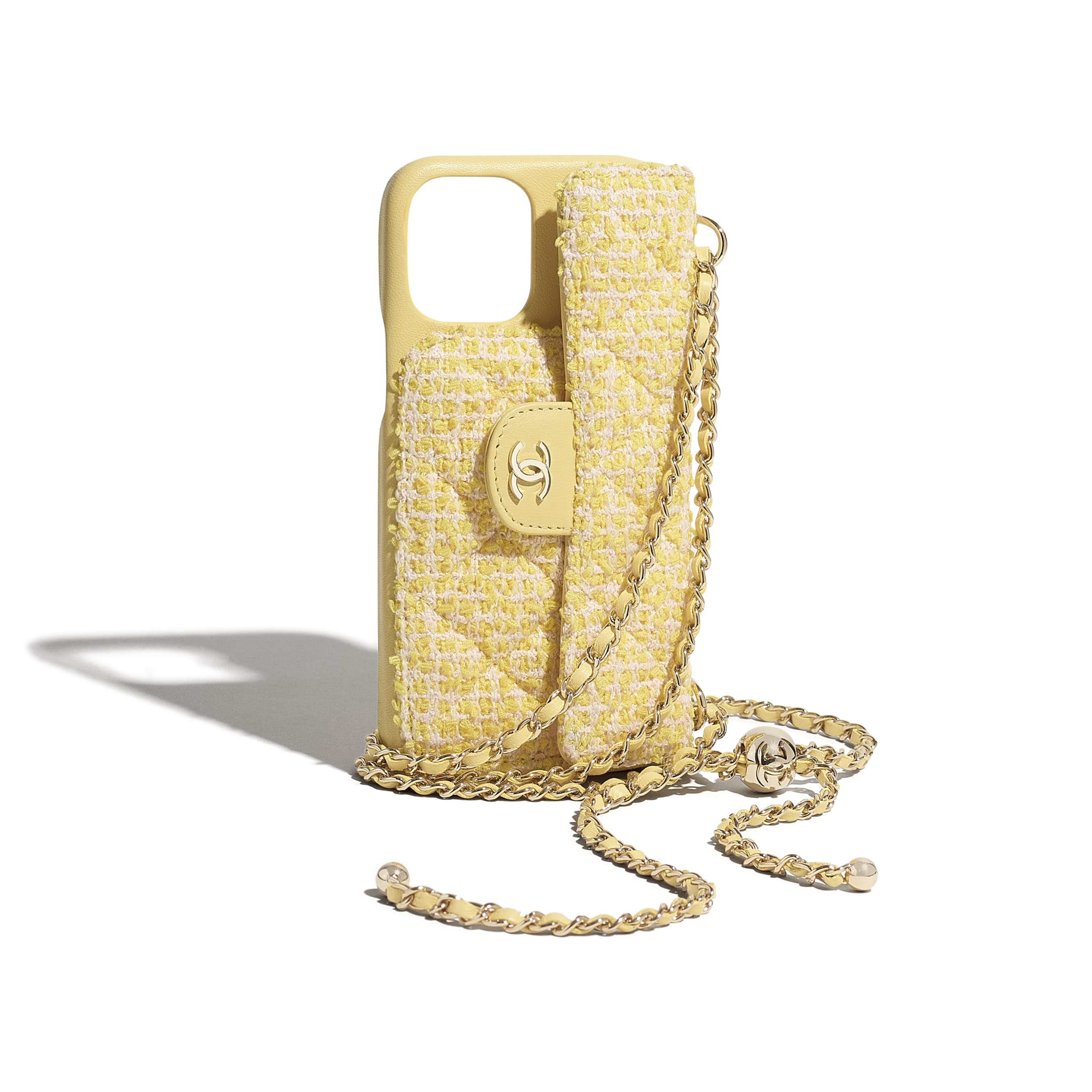 Classic Case for iPhone XII Pro MAX with chain - Yellow & Pink - Tweed & Gold Metal - CHANEL - Extra view - see standard sized version