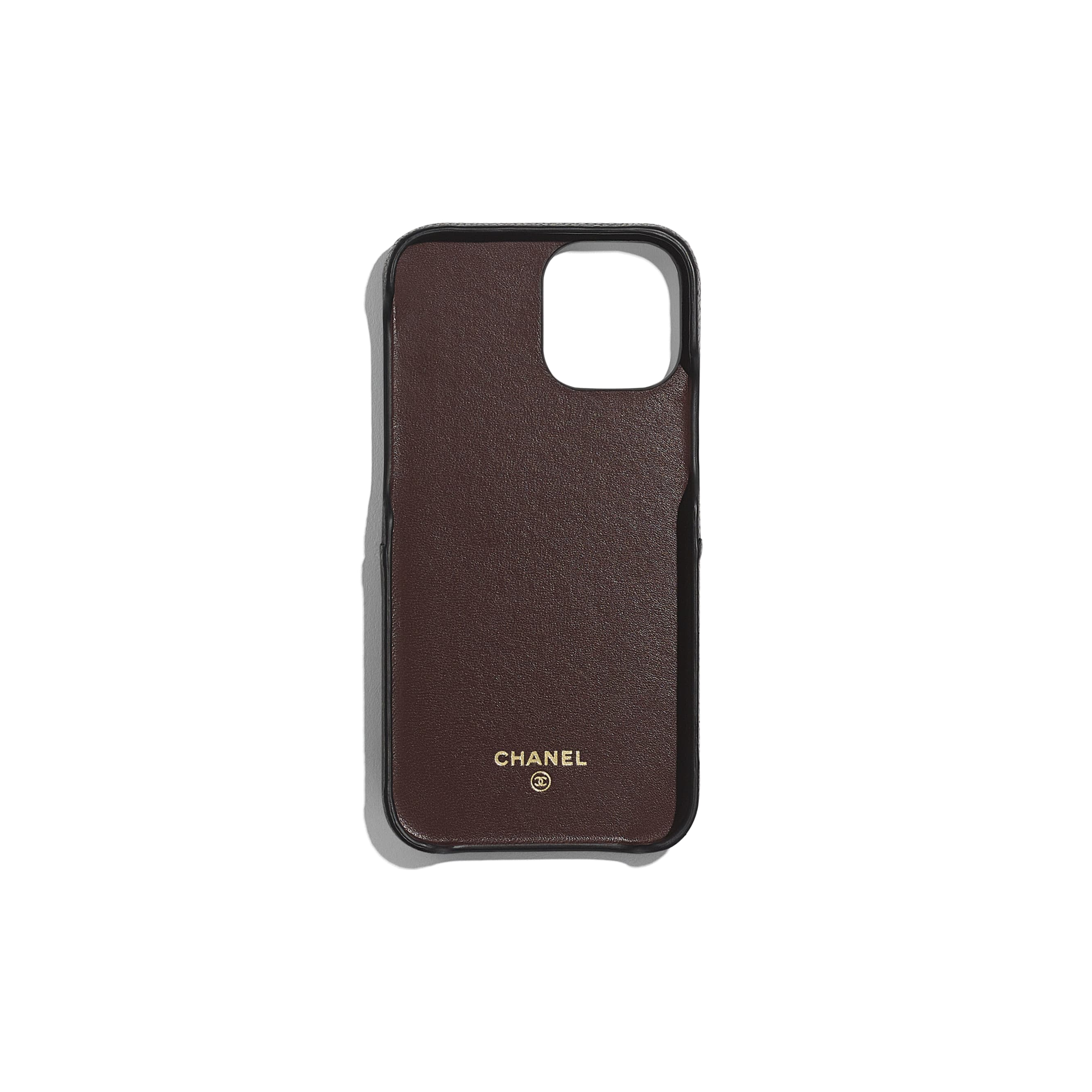 Classic Case for iPhone XII/XII Pro - Black - Grained Lambskin & Gold-Tone Metal - CHANEL - Alternative view - see standard sized version