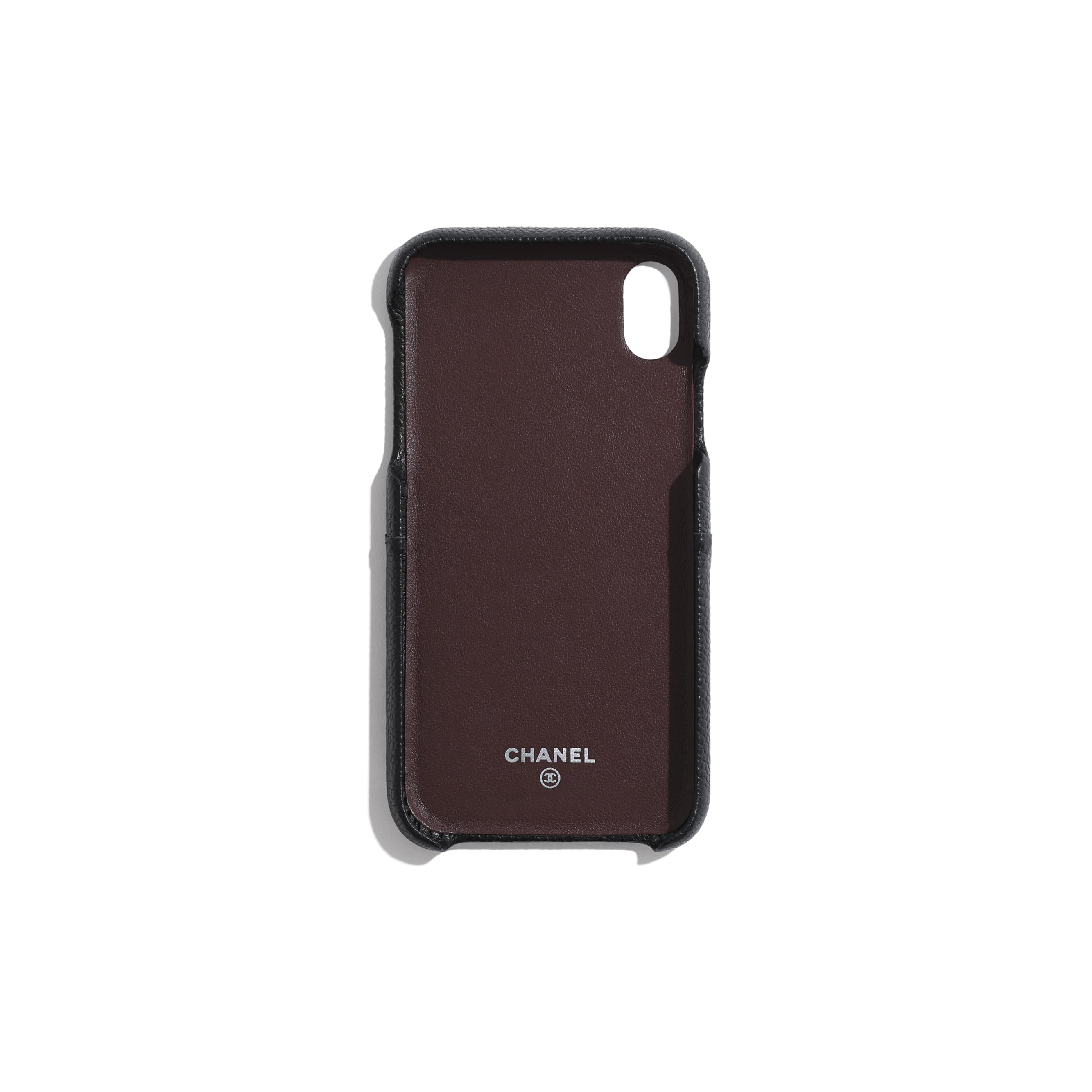 Classic Case for iPhone XR - Black - Grained Lambskin & Silver-Tone Metal - Alternative view - see standard sized version