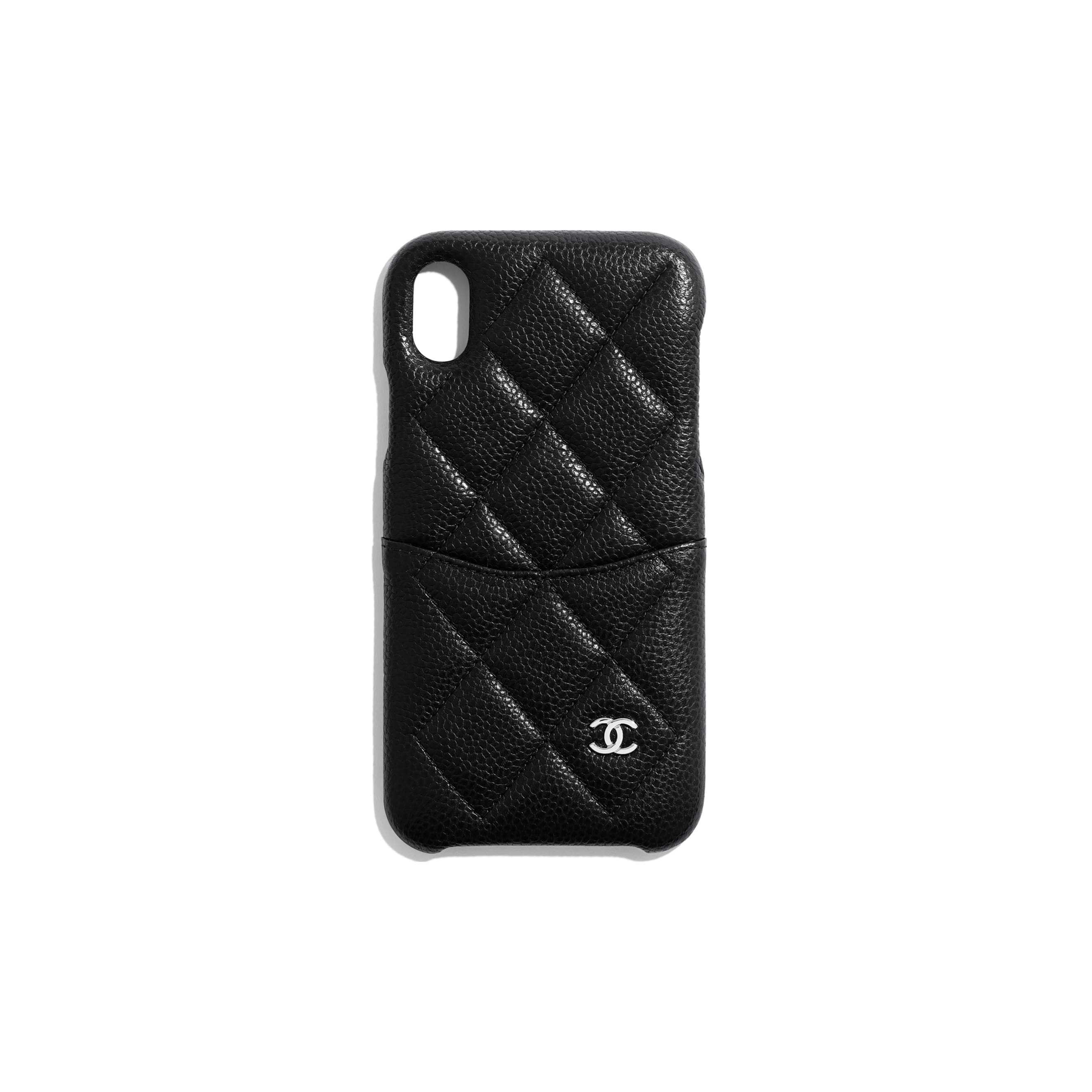 Classic Case for iPhone XR - Black - Grained Lambskin & Silver-Tone Metal - Default view - see standard sized version