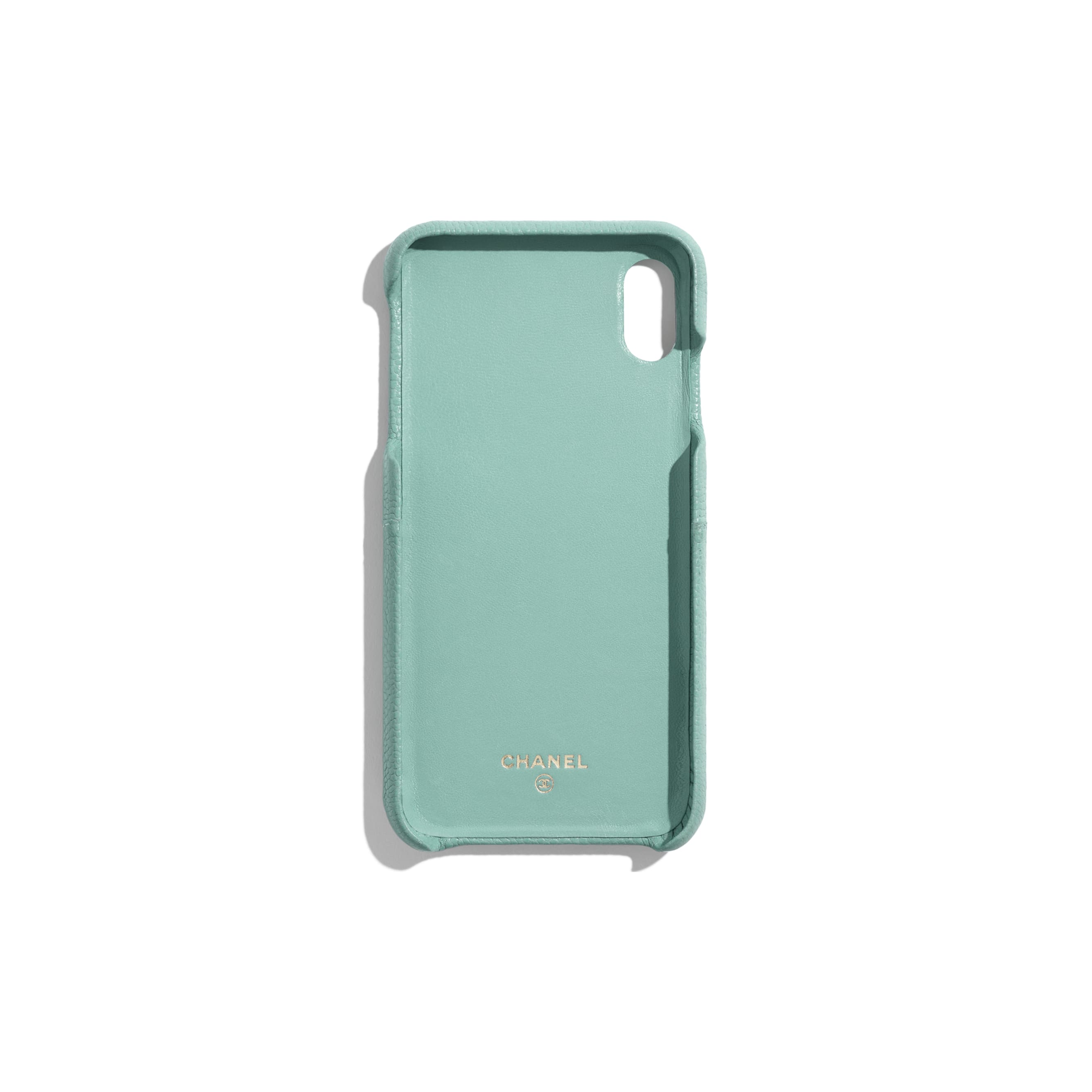 Classic Case for iPhone XS MAX - Blue - Grained Lambskin & Gold-Tone Metal - Alternative view - see standard sized version