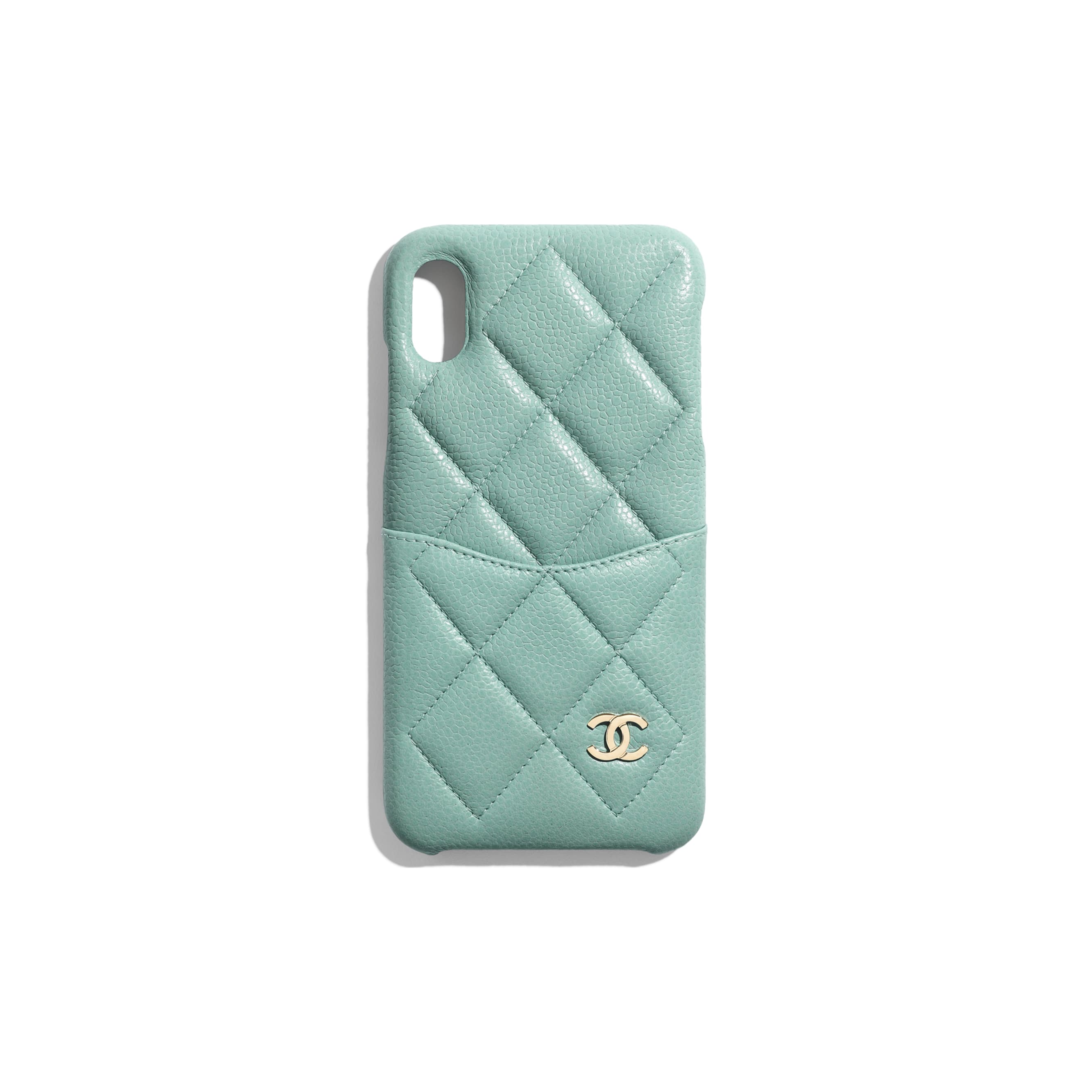 Classic Case for iPhone XS MAX - Blue - Grained Lambskin & Gold-Tone Metal - Default view - see standard sized version