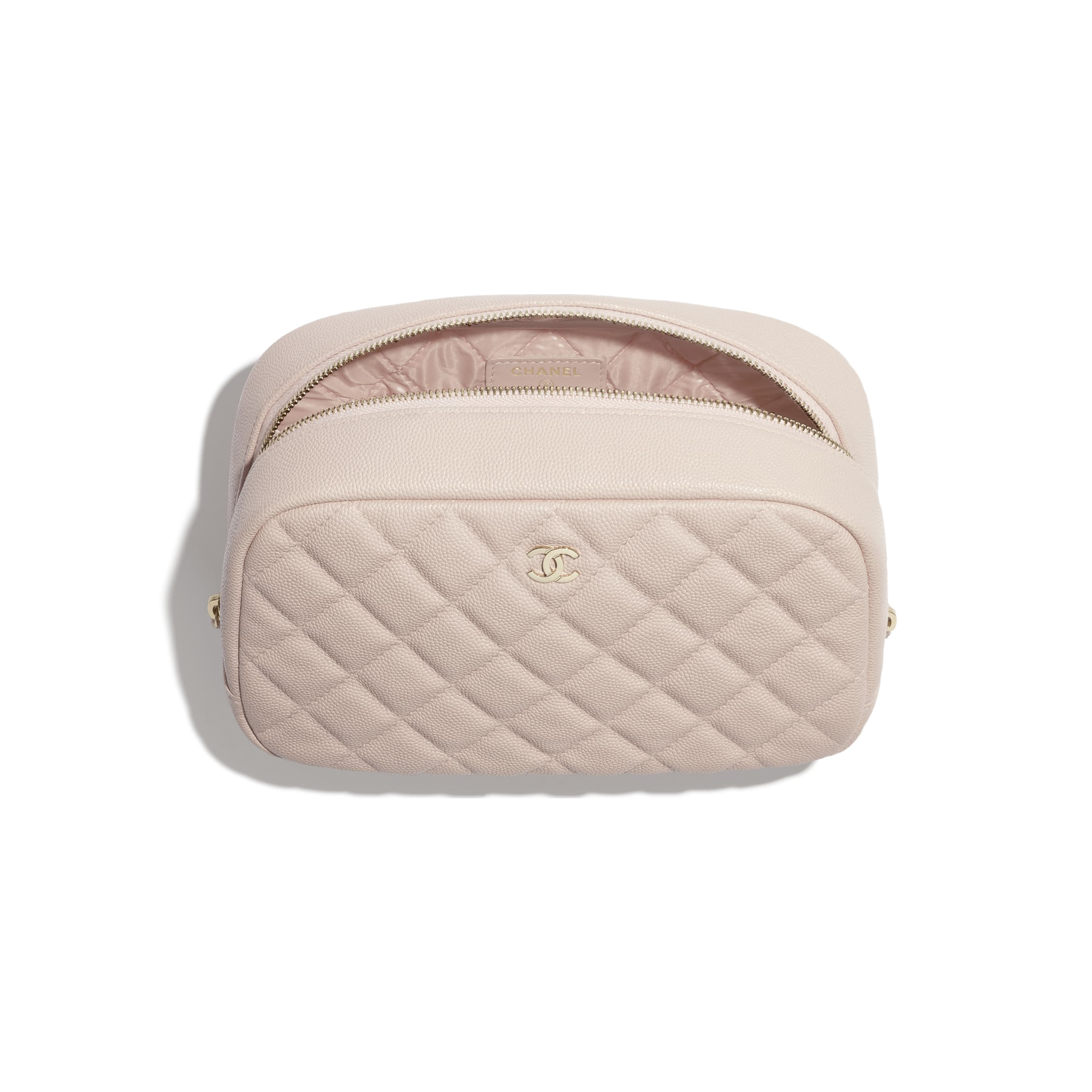 Classic Case - Pale Pink - Grained Shiny Calfskin & Gold-Tone Metal - CHANEL - Alternative view - see standard sized version