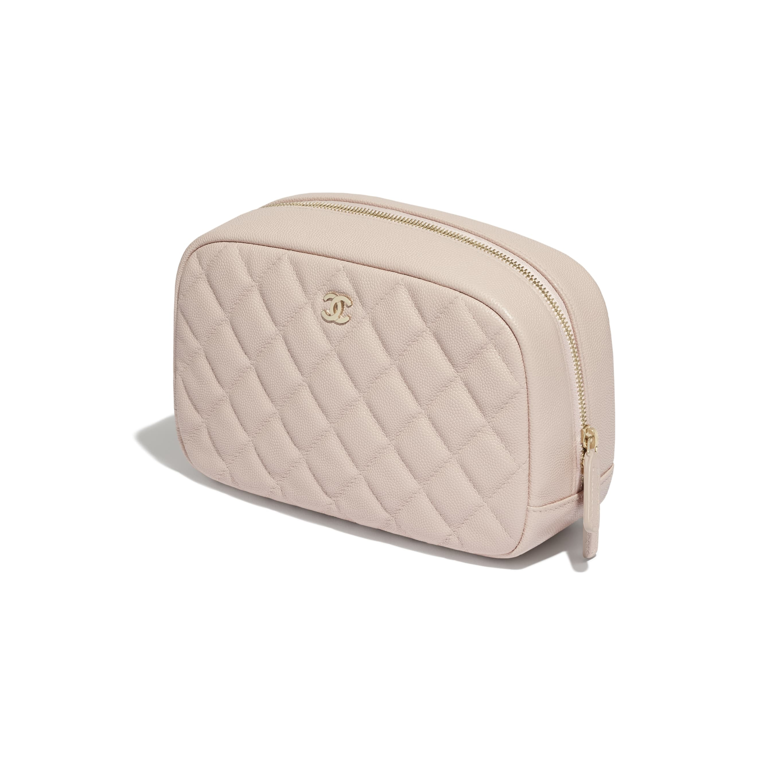 Classic Case - Pale Pink - Grained Shiny Calfskin & Gold-Tone Metal - CHANEL - Extra view - see standard sized version