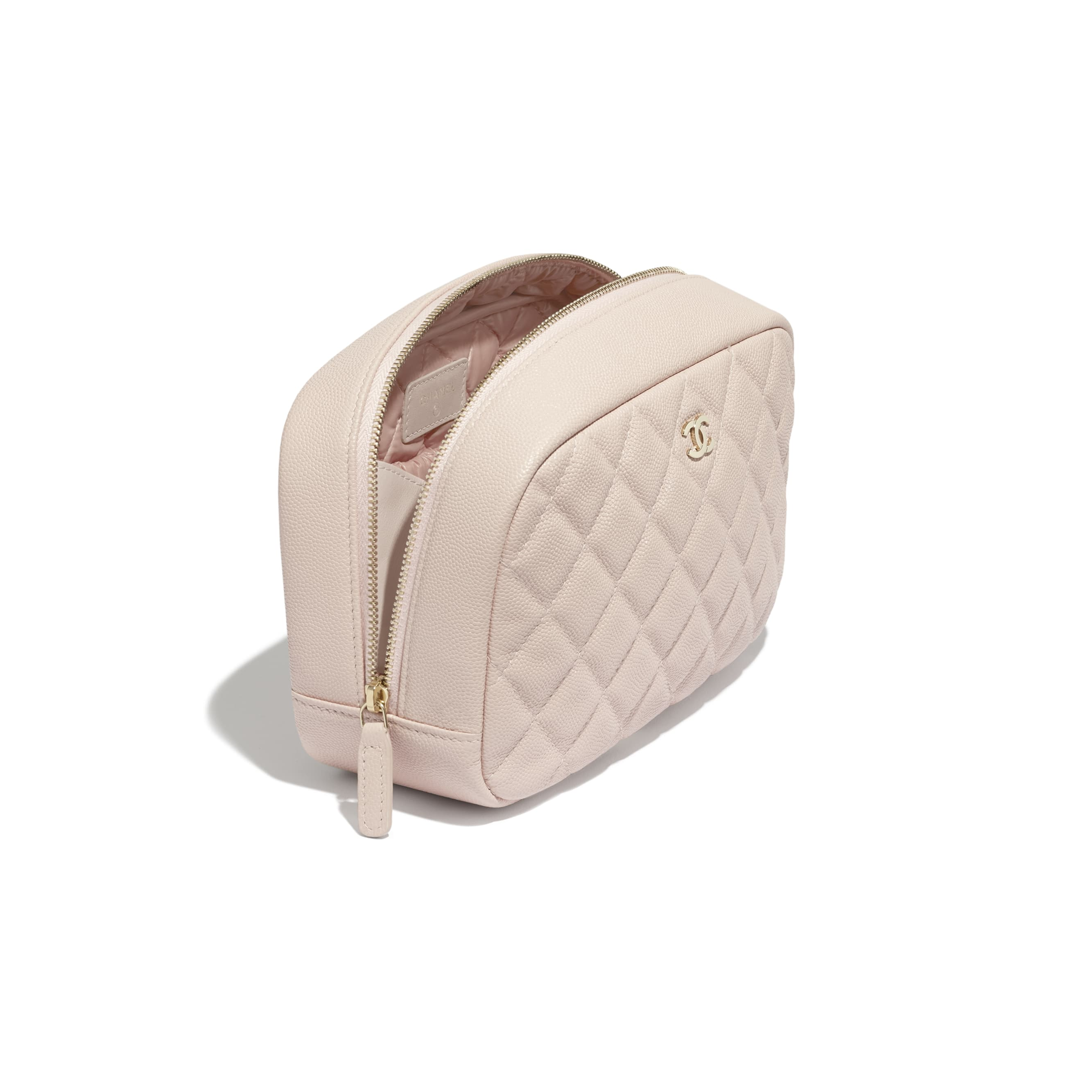 Classic Case - Pale Pink - Grained Shiny Calfskin & Gold-Tone Metal - CHANEL - Other view - see standard sized version