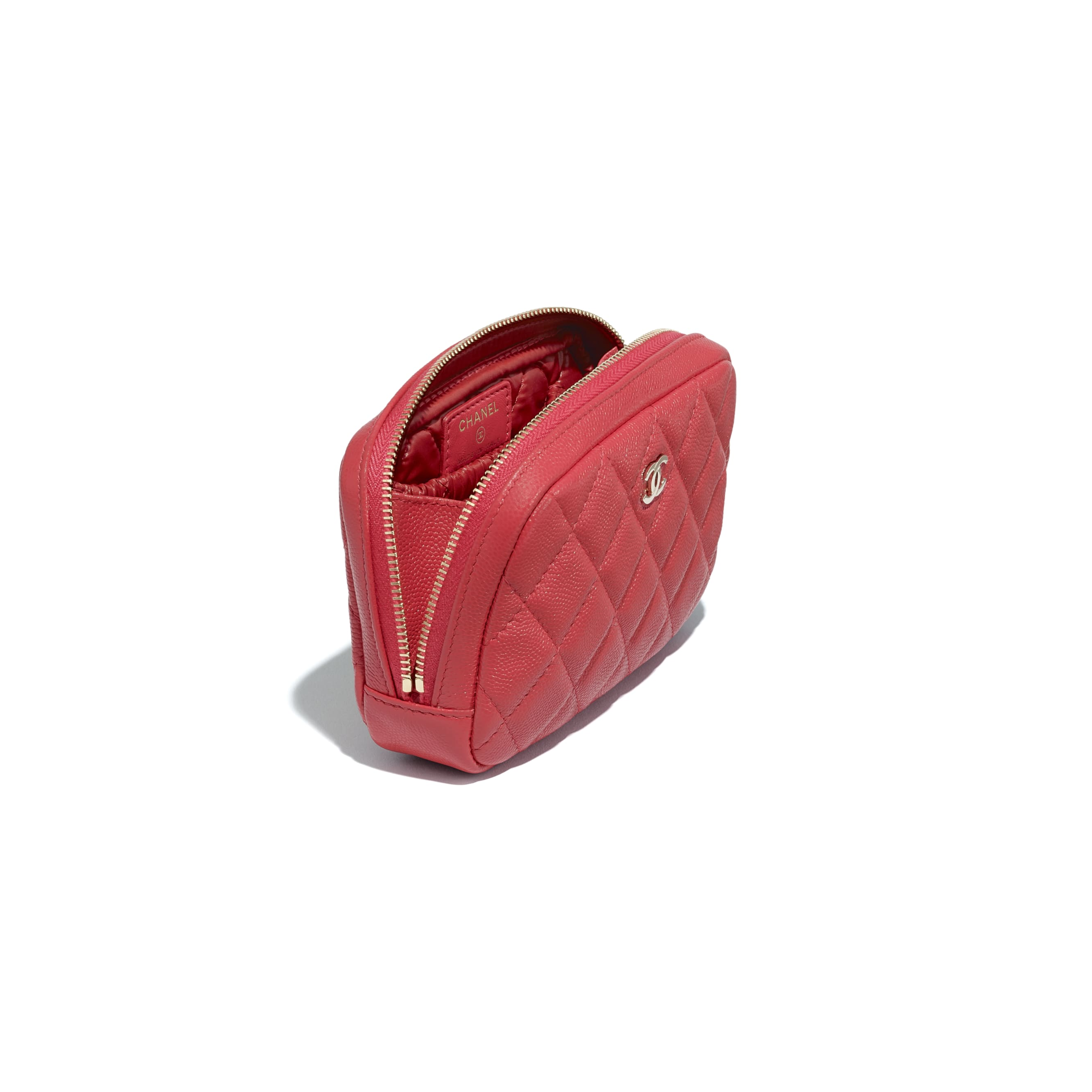 Classic Case - Red - Grained Calfskin & Gold-Tone Metal - CHANEL - Other view - see standard sized version