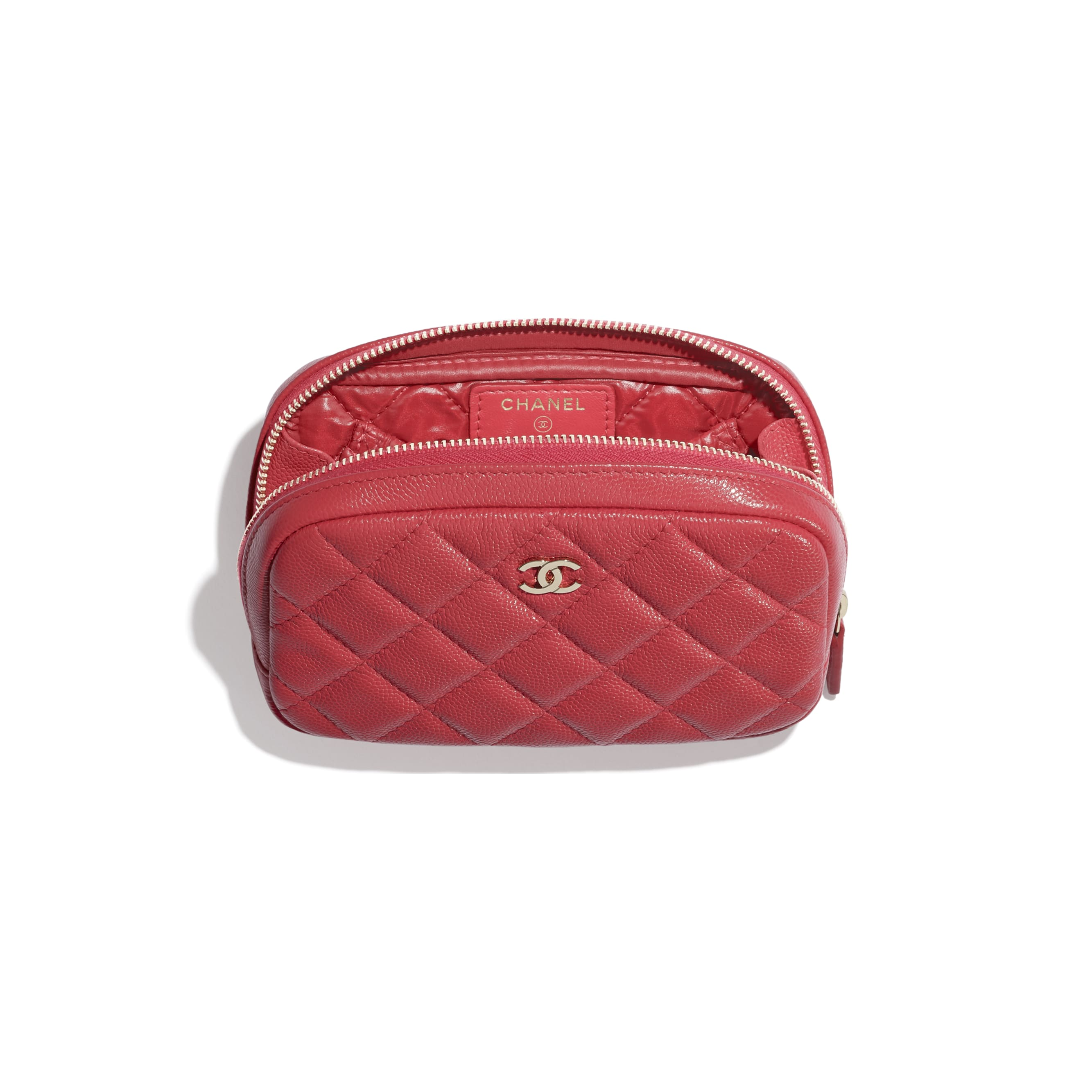 Classic Case - Red - Grained Shiny Calfskin & Gold-Tone Metal - CHANEL - Alternative view - see standard sized version