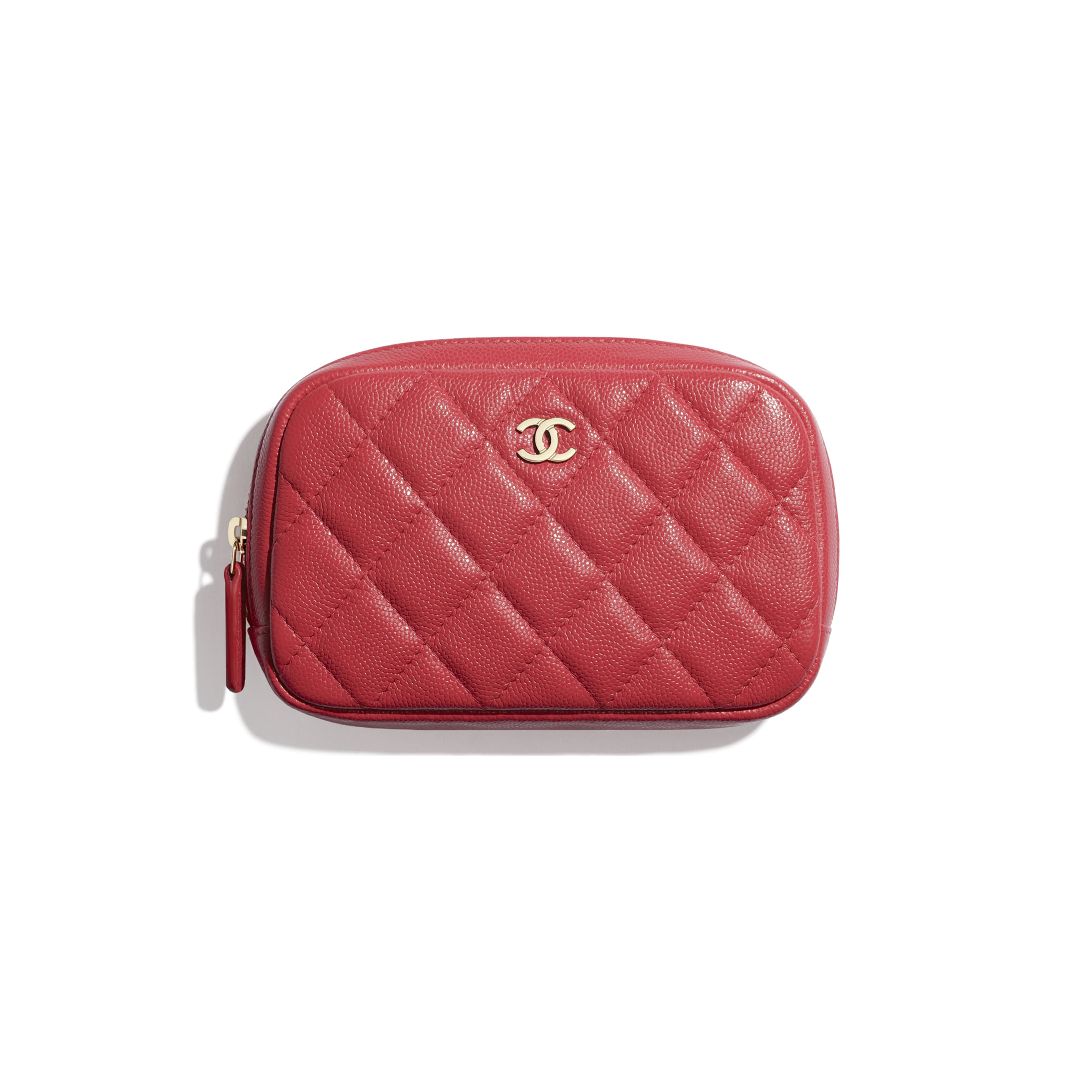 Classic Case - Red - Grained Shiny Calfskin & Gold-Tone Metal - CHANEL - Default view - see standard sized version