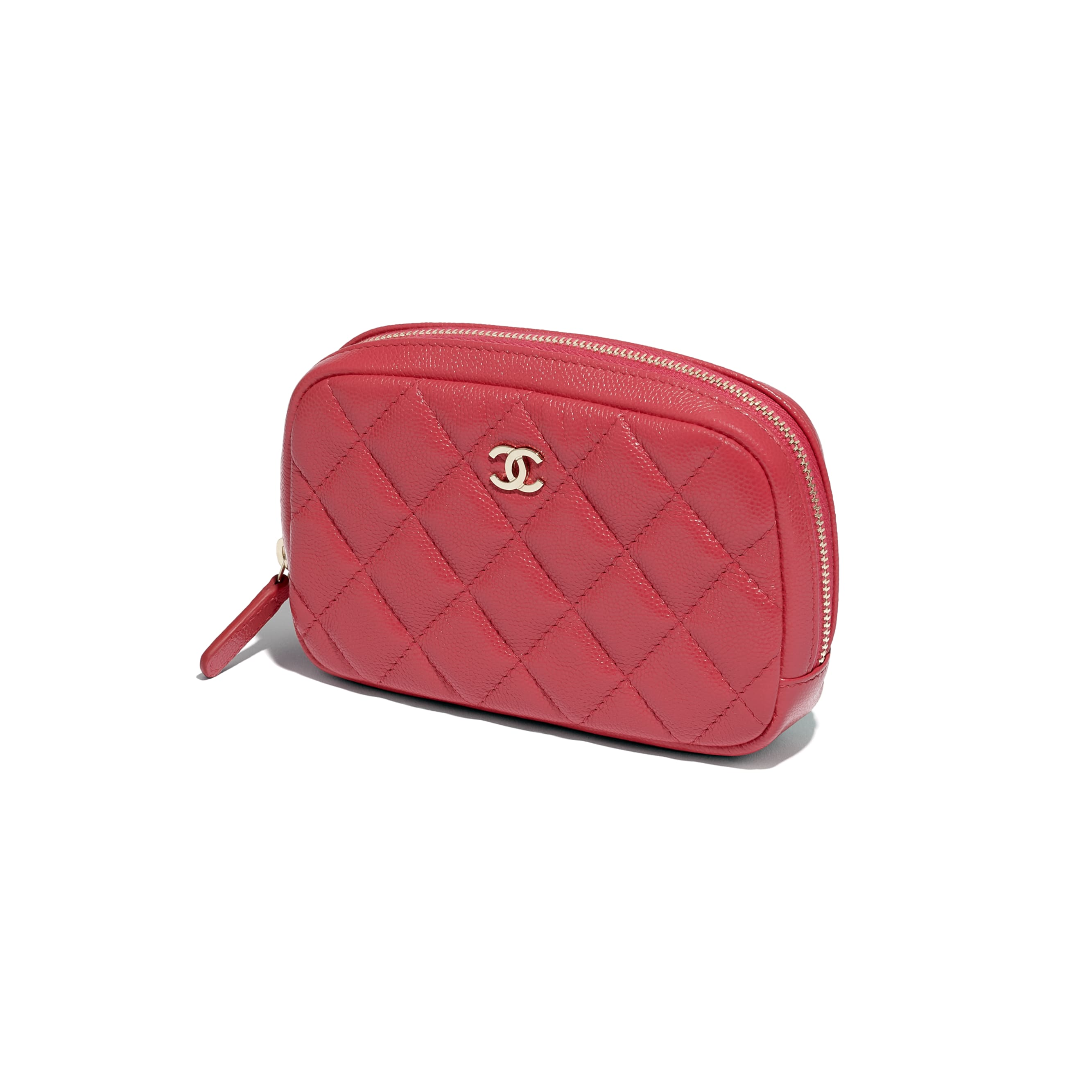 Classic Case - Red - Grained Shiny Calfskin & Gold-Tone Metal - CHANEL - Extra view - see standard sized version