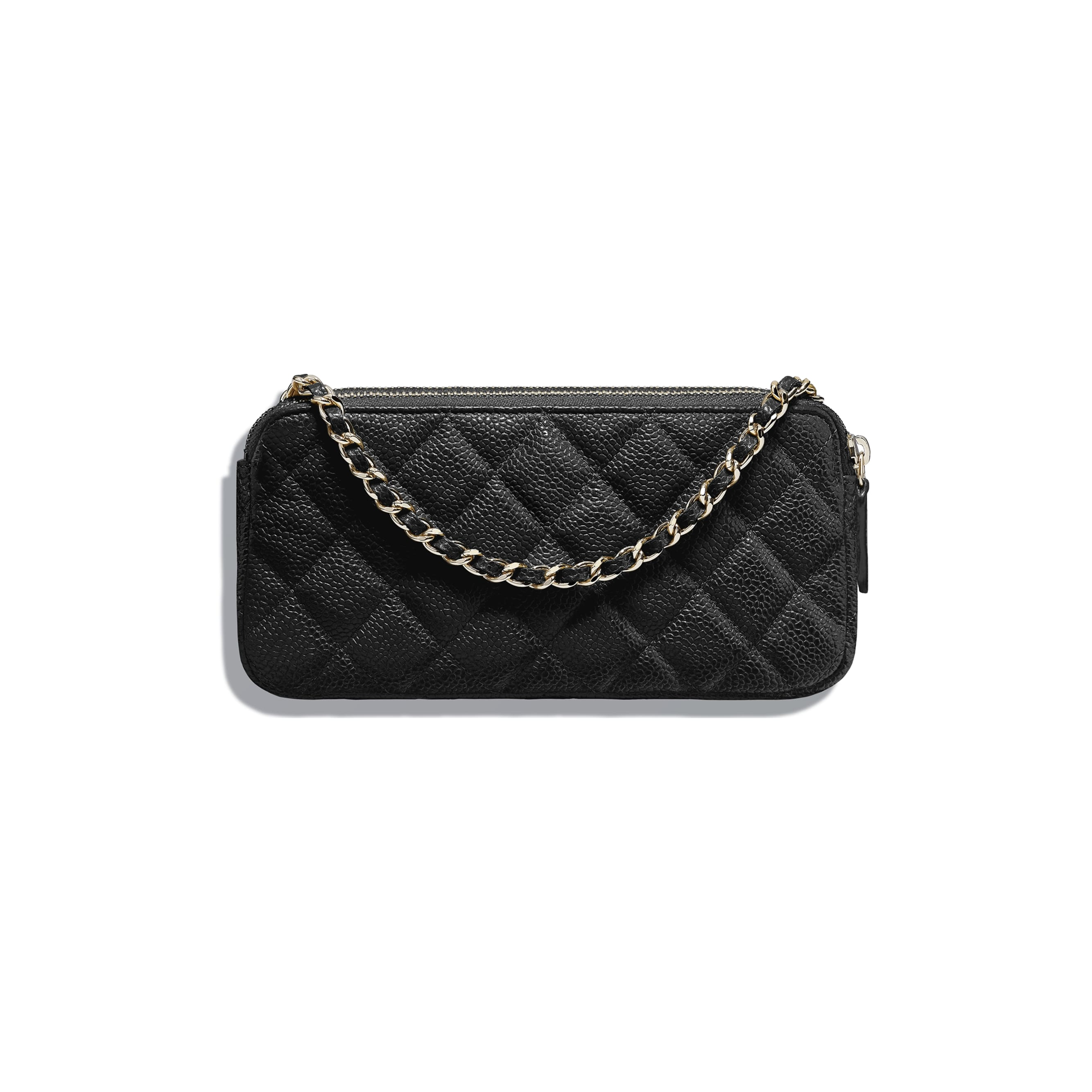 Classic Clutch with Chain - Black - Grained Calfskin & Gold-Tone Metal - Alternative view - see standard sized version