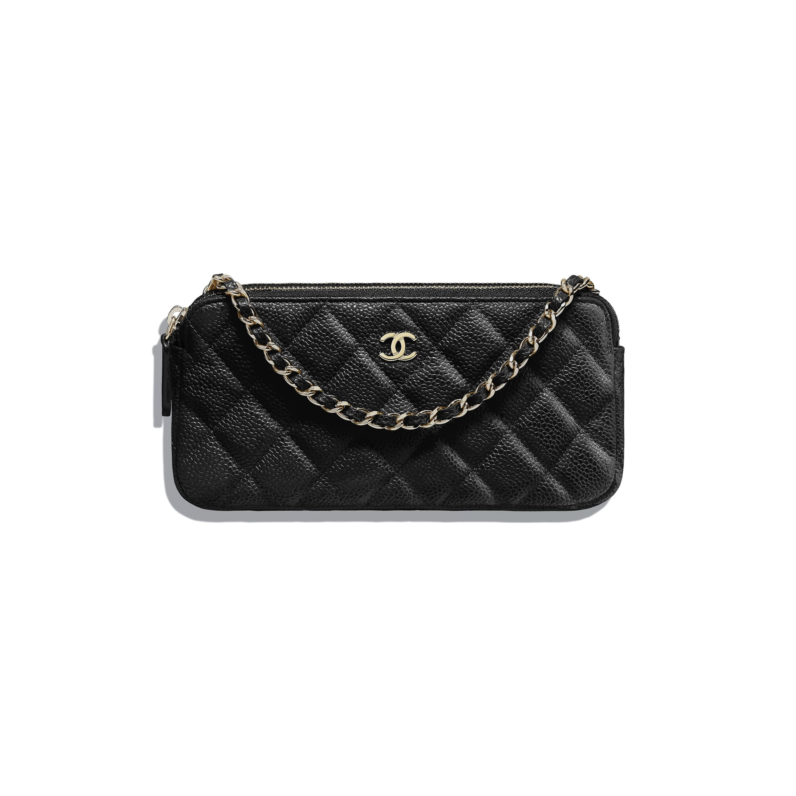 Classic Clutch With Chain - Black - Grained Calfskin & Gold-Tone Metal - Default view - see standard sized version
