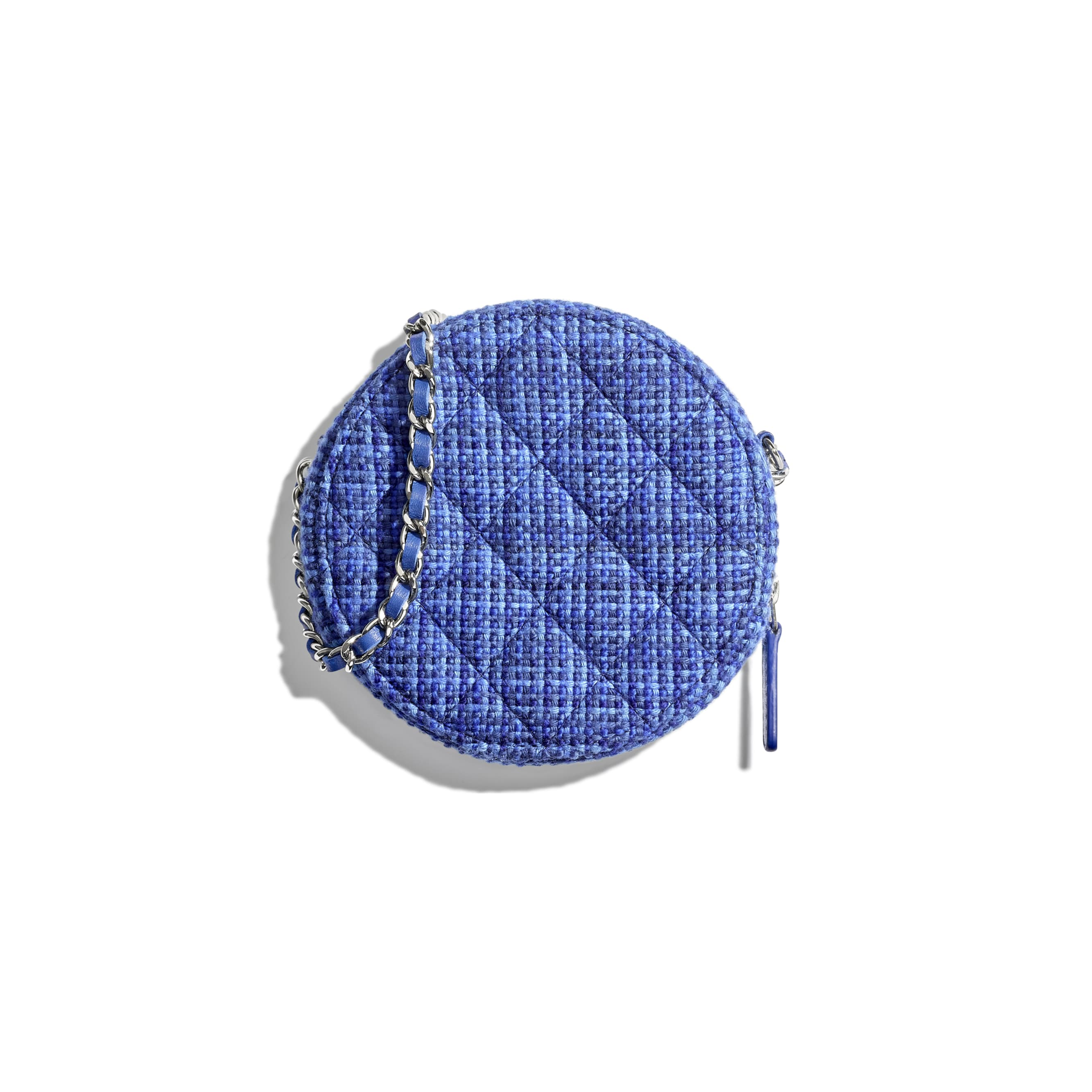 Classic Clutch With Chain - Blue - Tweed & Silver-Tone Metal - Alternative view - see standard sized version