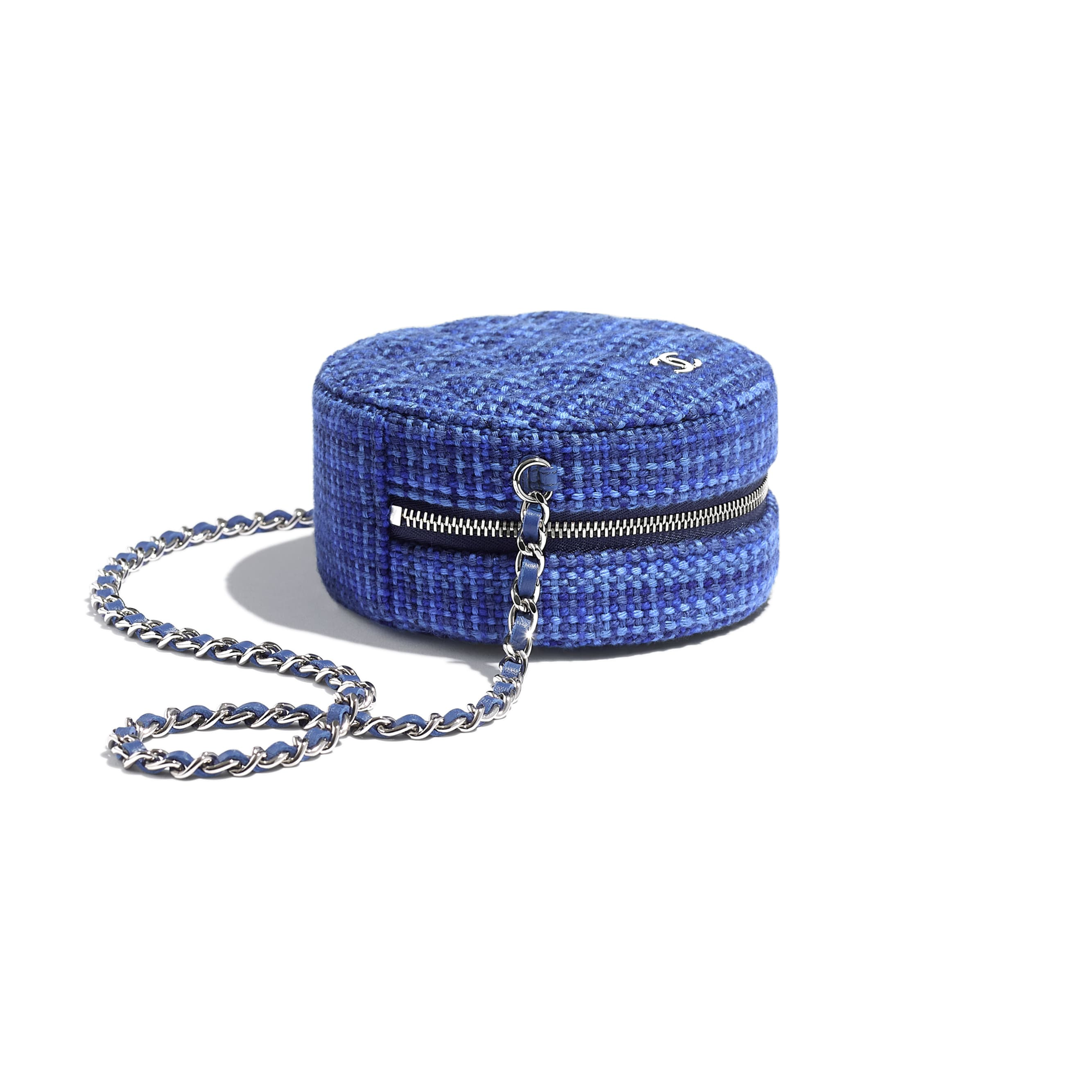 Classic Clutch With Chain - Blue - Tweed & Silver-Tone Metal - Extra view - see standard sized version