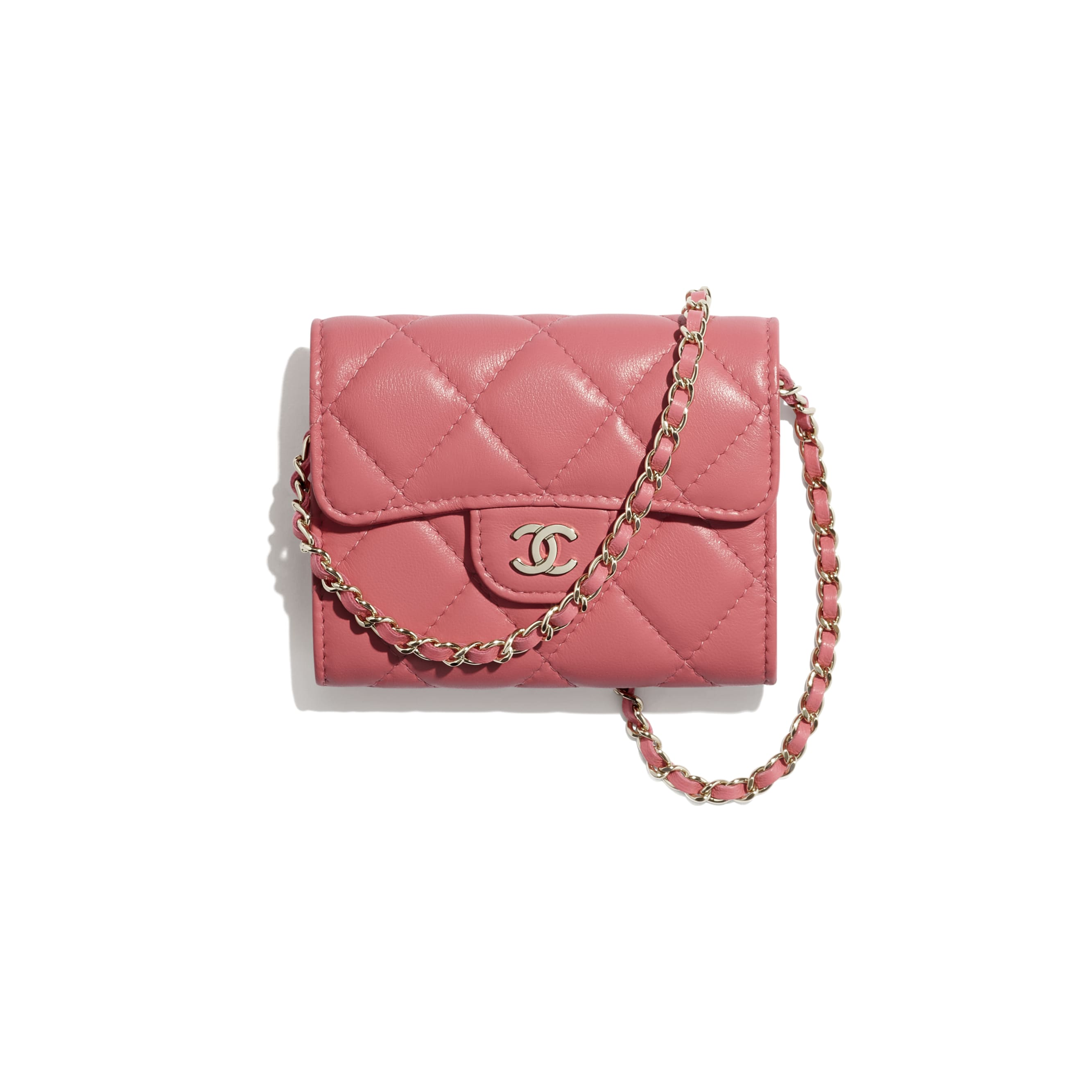 Classic Clutch With Chain - Coral - Lambskin - CHANEL - Default view - see standard sized version
