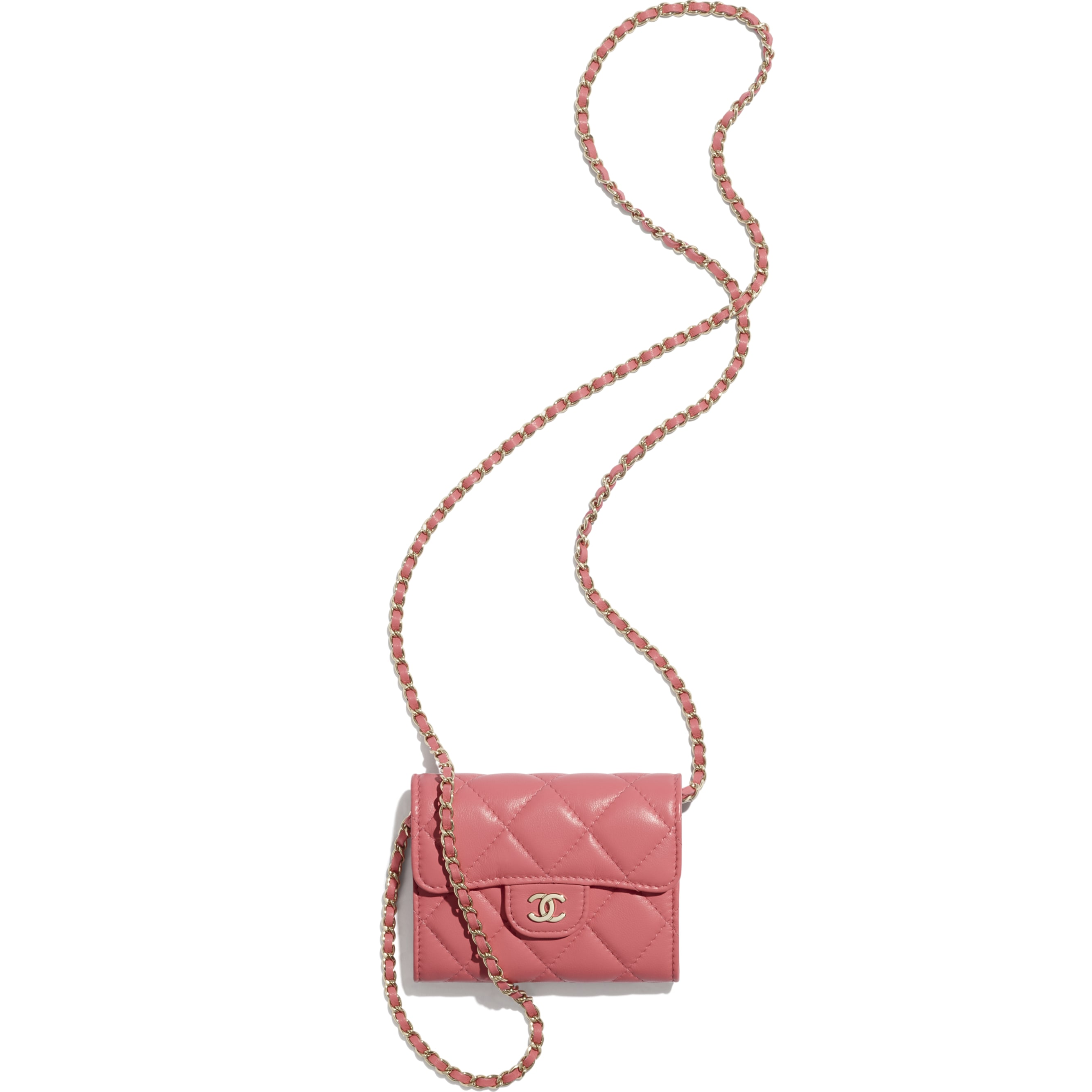 Classic Clutch With Chain - Coral - Lambskin - CHANEL - Other view - see standard sized version