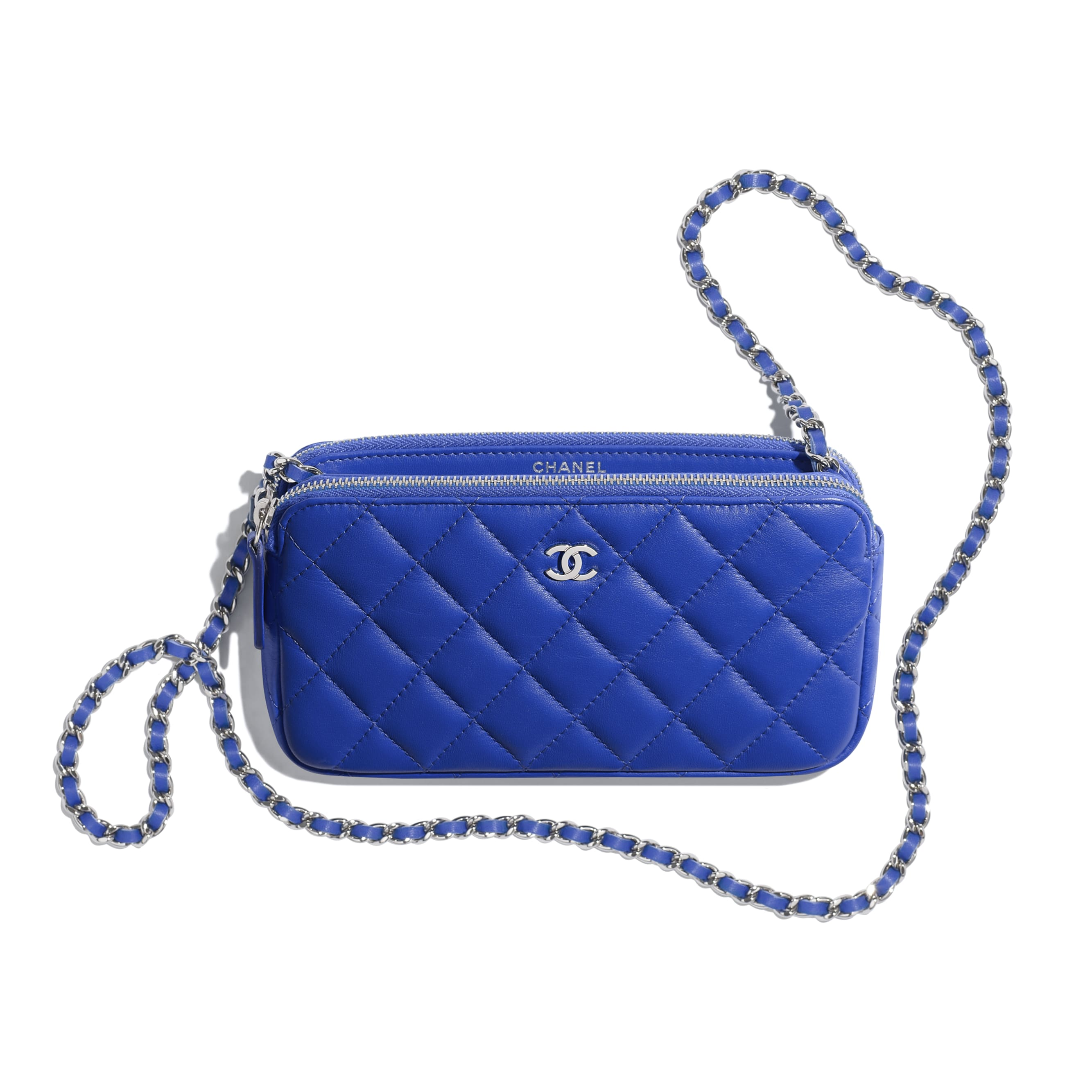 0cce70314469 ... Classic Clutch with Chain - Dark Blue - Lambskin   Silver-Tone Metal -  Other