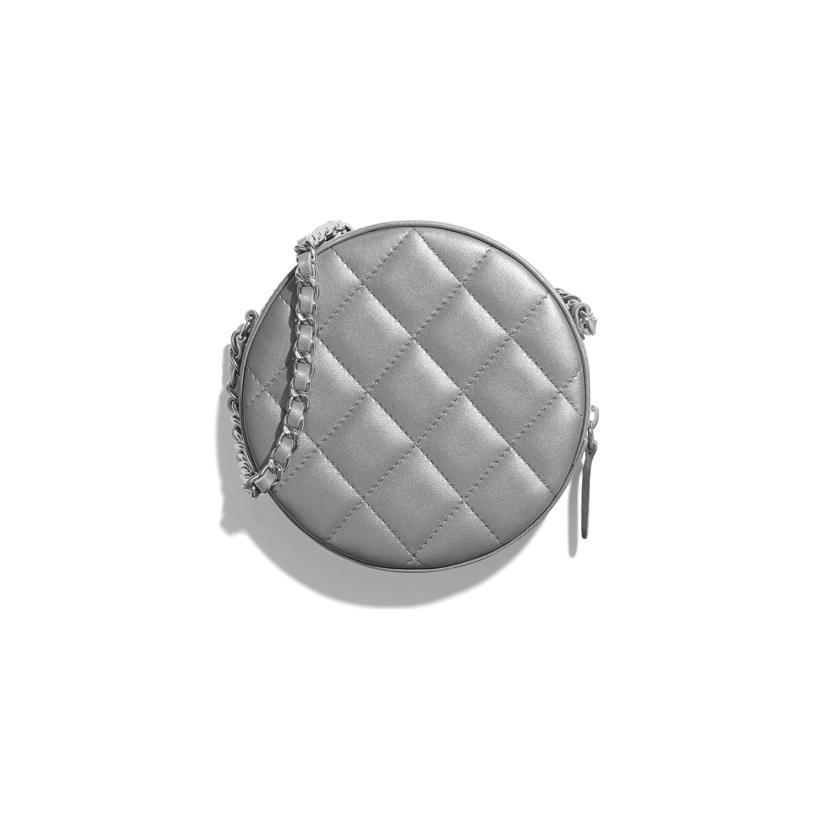 Classic Clutch With Chain - Grey, Silver & Pink - Sequins, Glass Pearls & Silver-Tone Metal - CHANEL - Alternative view - see standard sized version
