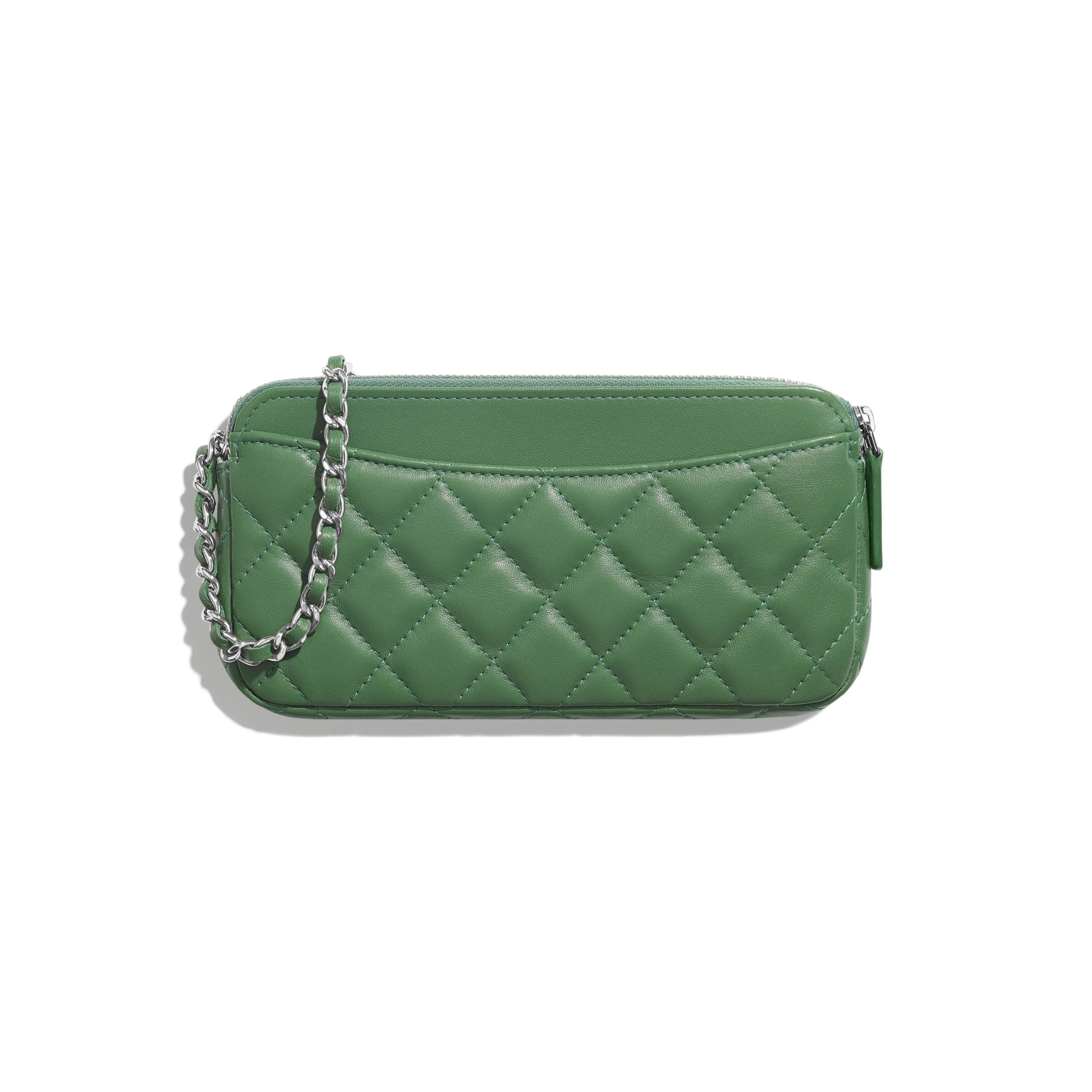 Classic Clutch With Chain - Green - Lambskin - Alternative view - see standard sized version