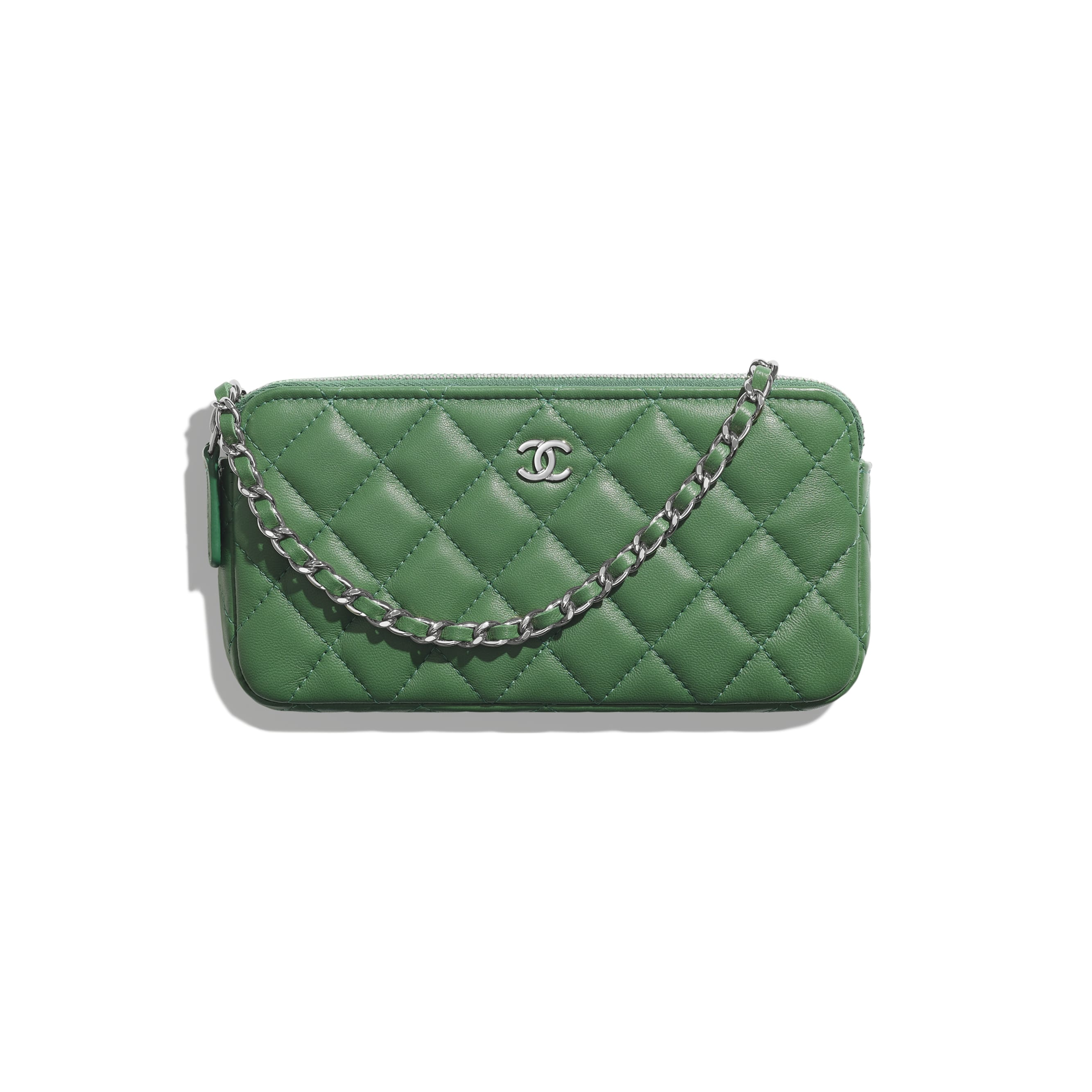 Classic Clutch With Chain - Green - Lambskin - Default view - see standard sized version