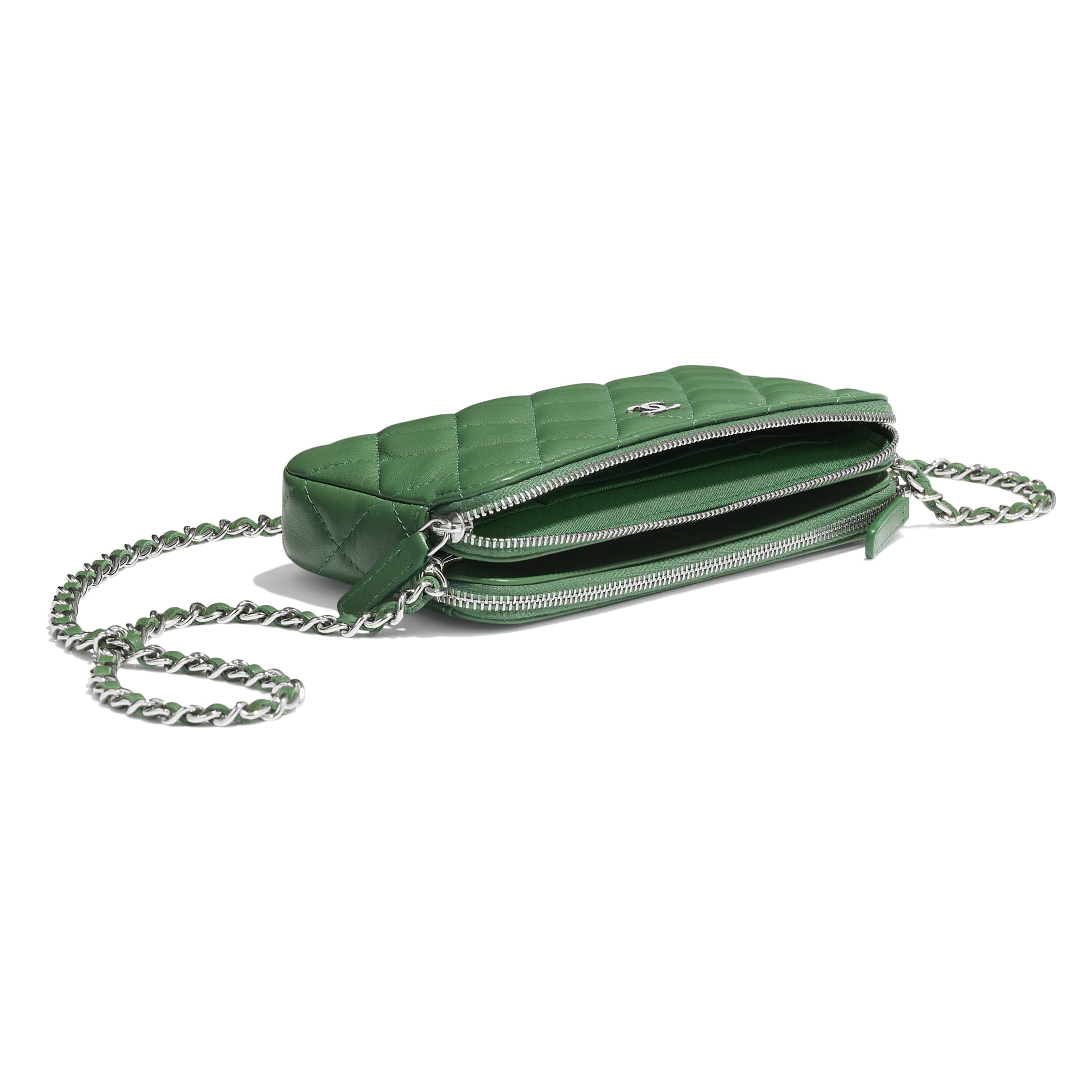 Classic Clutch With Chain - Green - Lambskin - Extra view - see standard sized version