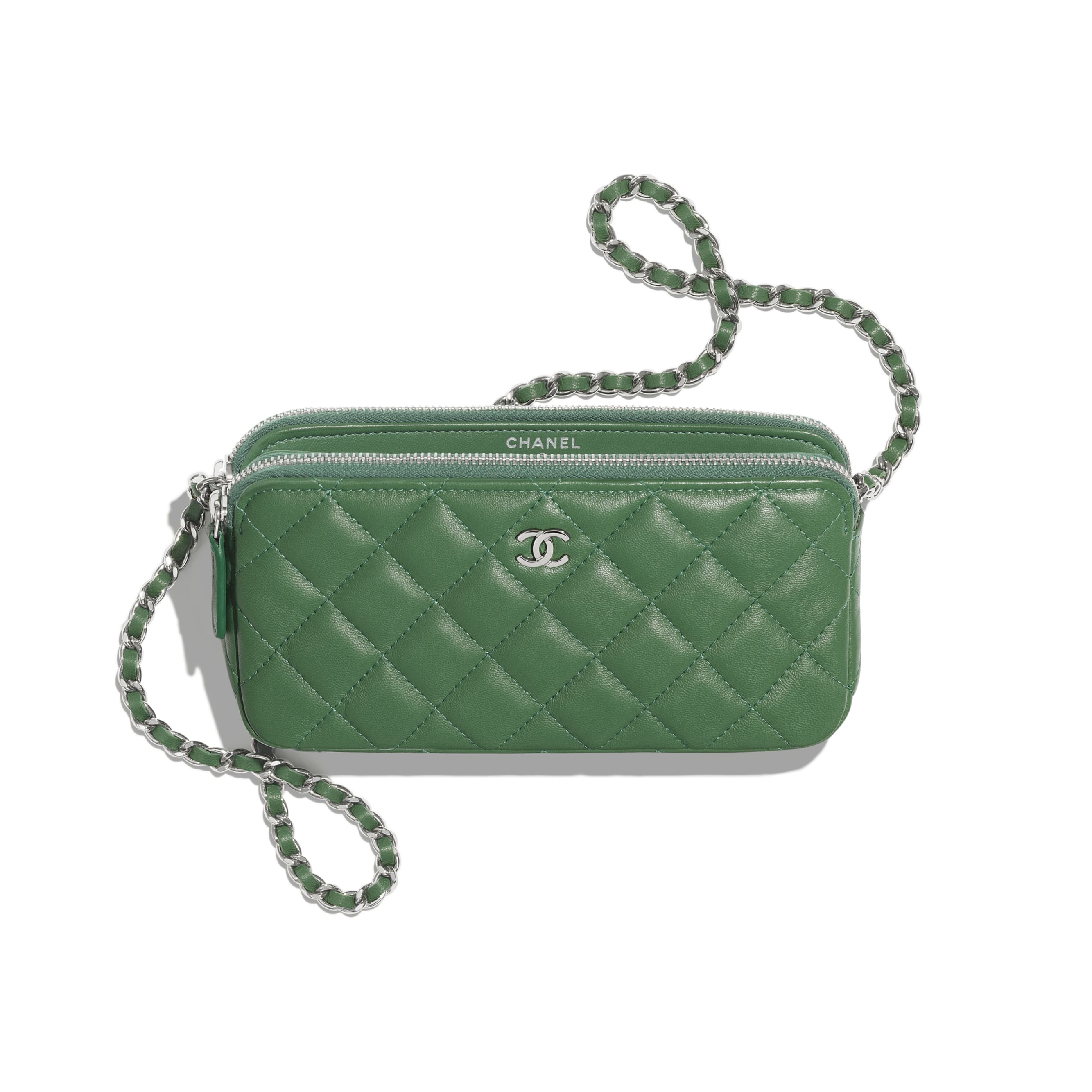 Classic Clutch With Chain - Green - Lambskin - Other view - see standard sized version