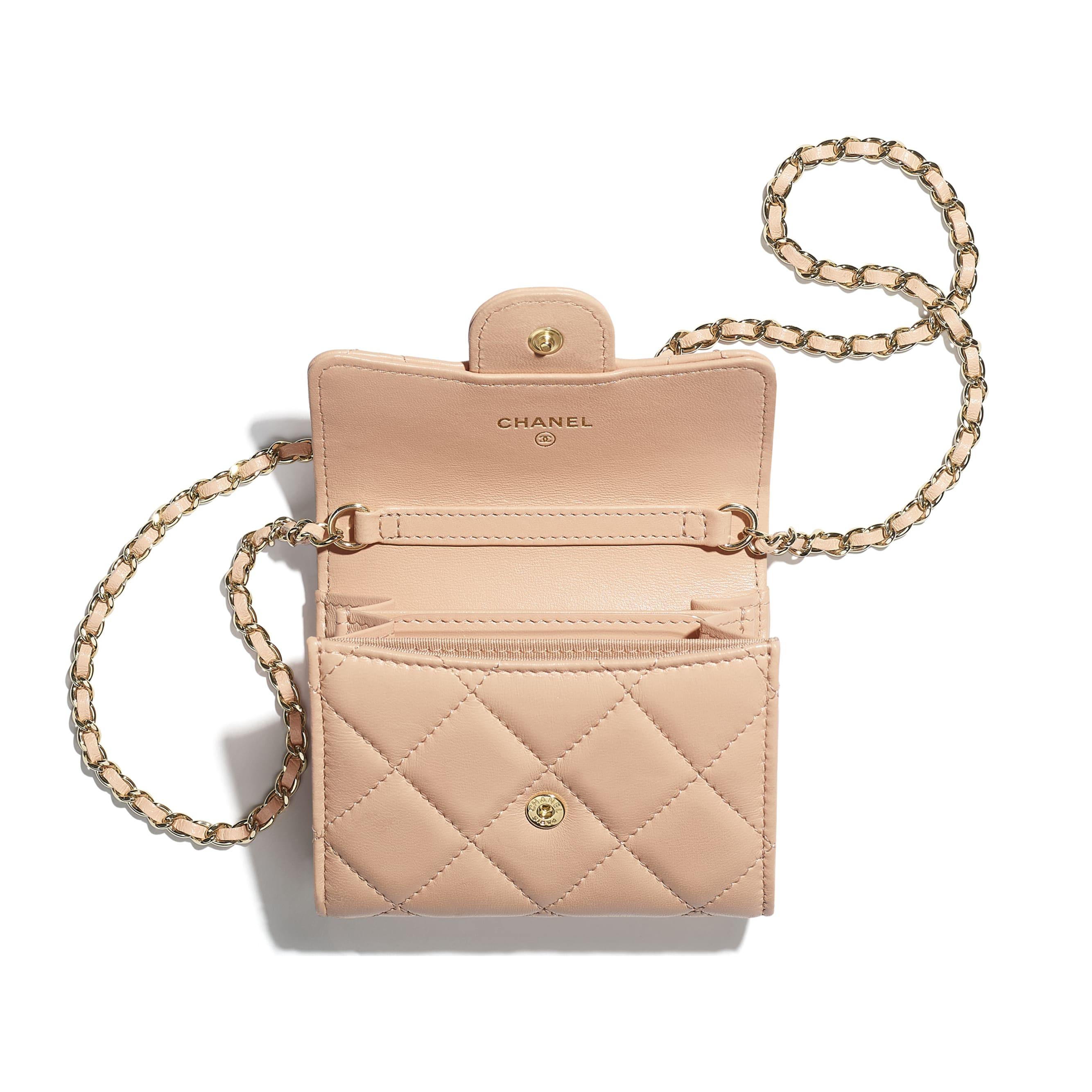 Clutch con catena classica - Rosa chiaro - Pelle di agnello & metallo effetto dorato - CHANEL - Immagine diversa - vedere versione standard