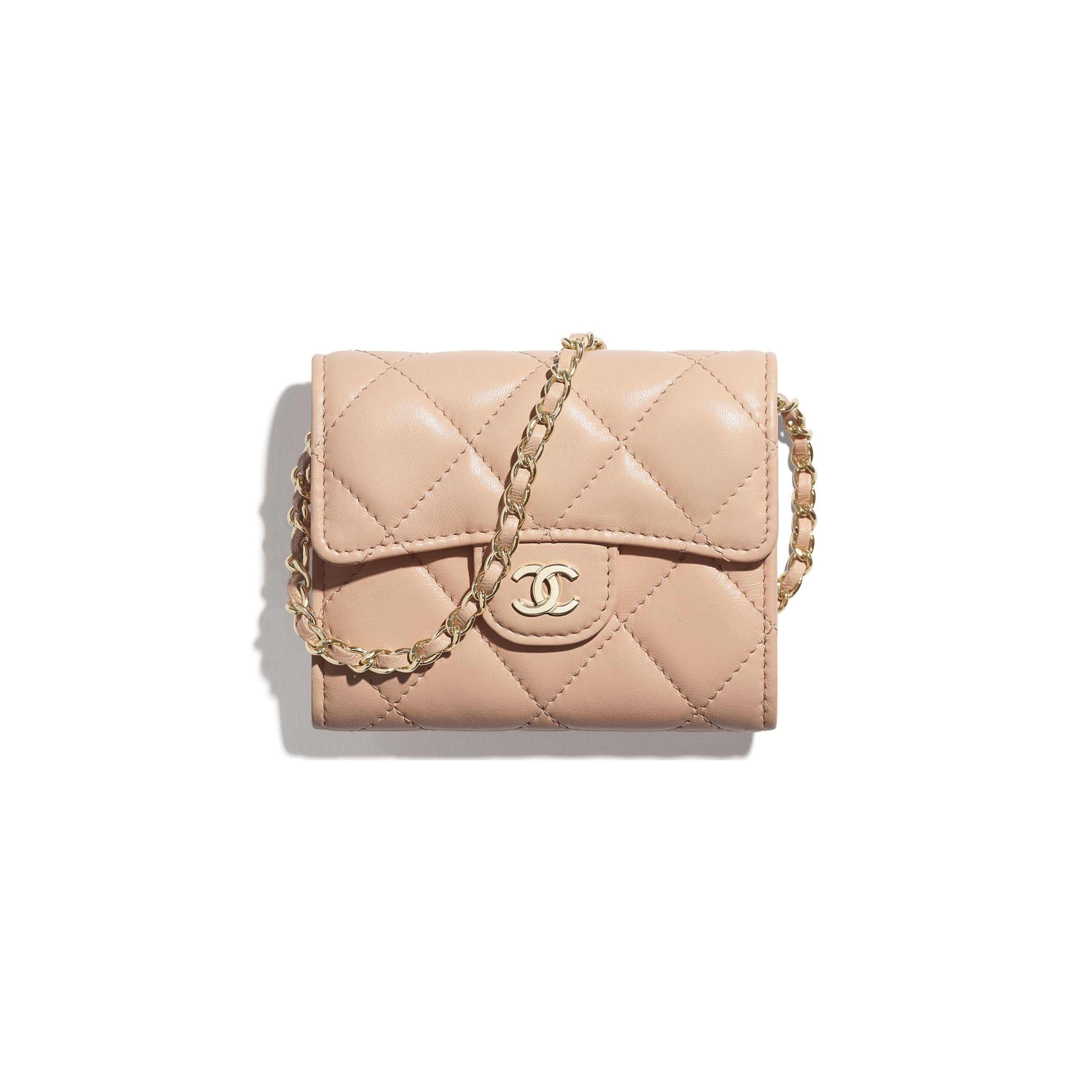 Clutch con catena classica - Rosa chiaro - Pelle di agnello & metallo effetto dorato - CHANEL - Immagine predefinita - vedere versione standard
