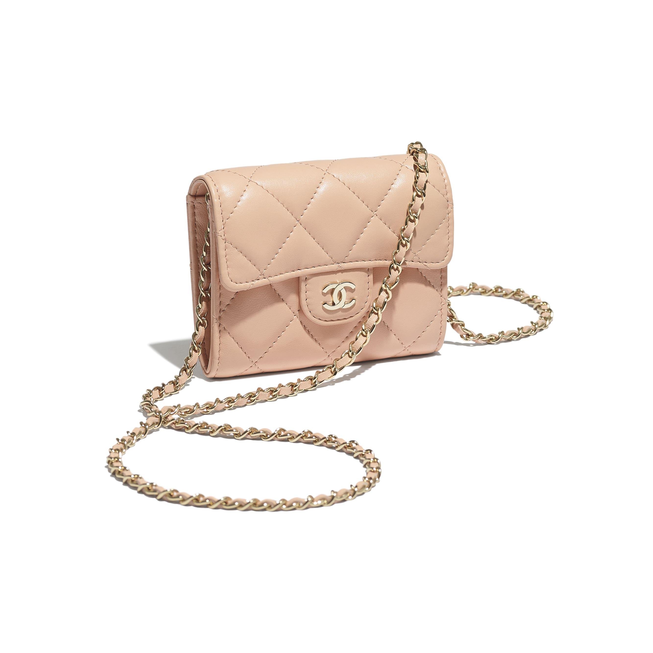 Clutch con catena classica - Rosa chiaro - Pelle di agnello & metallo effetto dorato - CHANEL - Immagine extra - vedere versione standard