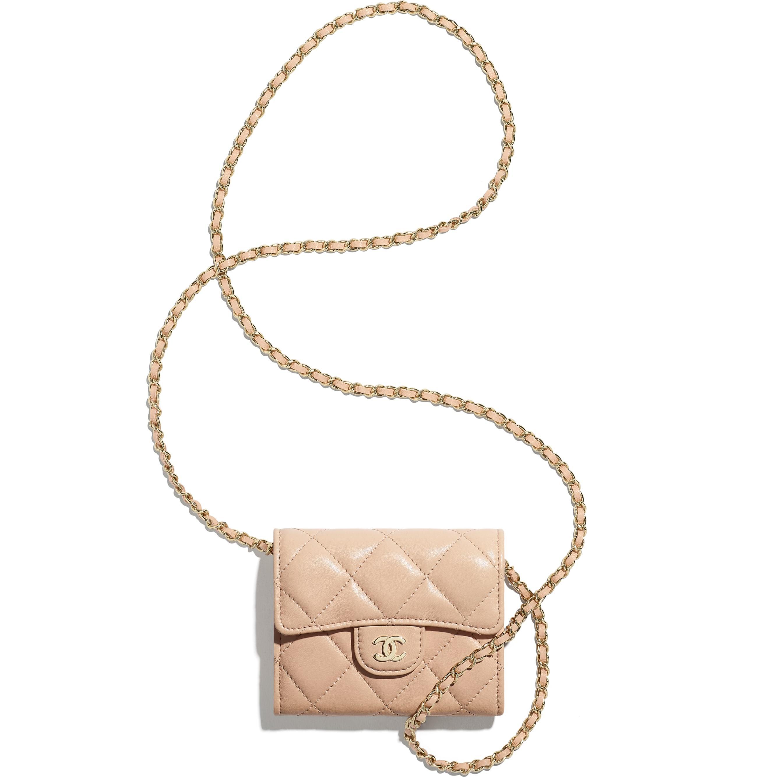 Clutch con catena classica - Rosa chiaro - Pelle di agnello & metallo effetto dorato - CHANEL - Altra immagine - vedere versione standard