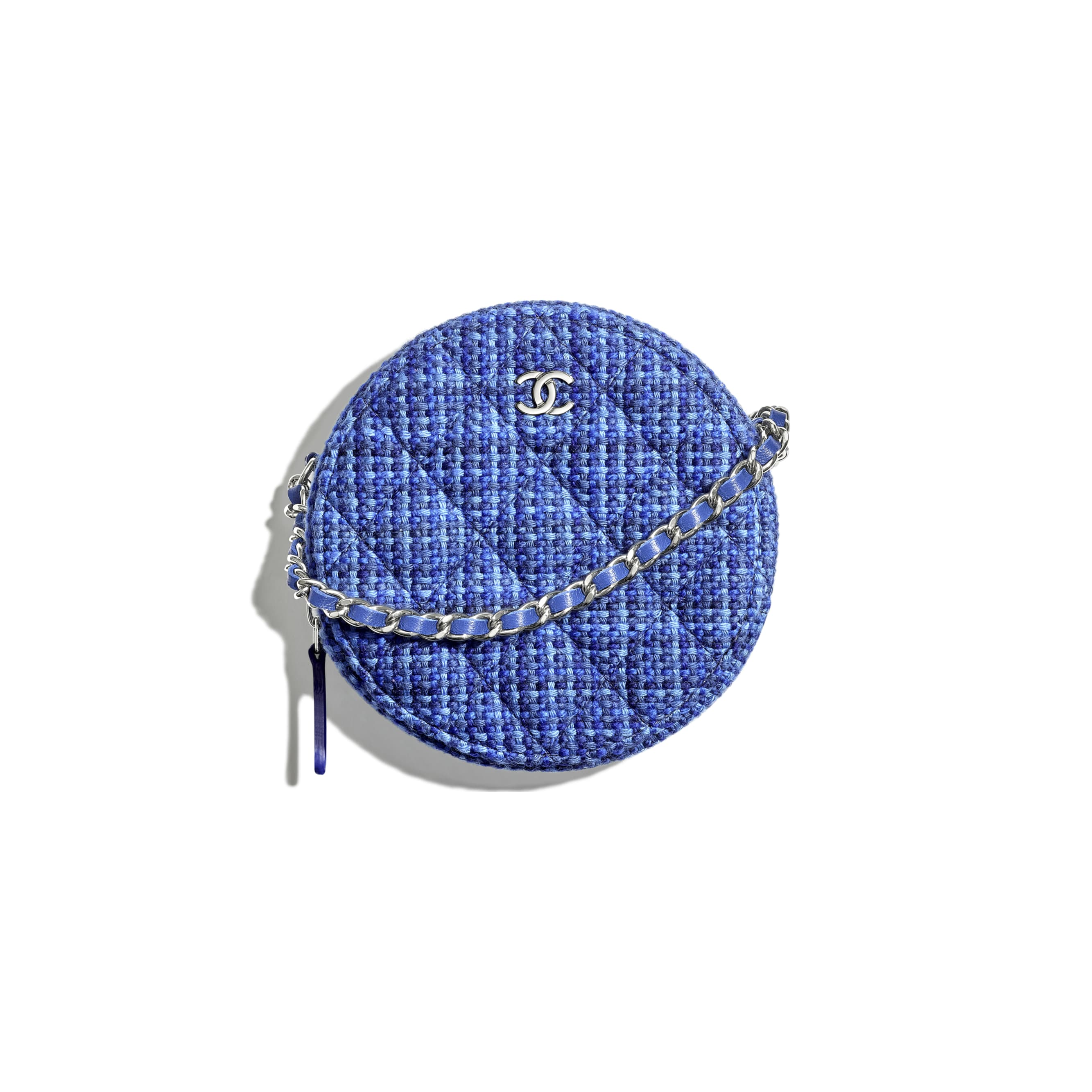 Classic Clutch with Chain - Navy Blue & Blue - Tweed & Silver-Tone Metal - CHANEL - Default view - see standard sized version