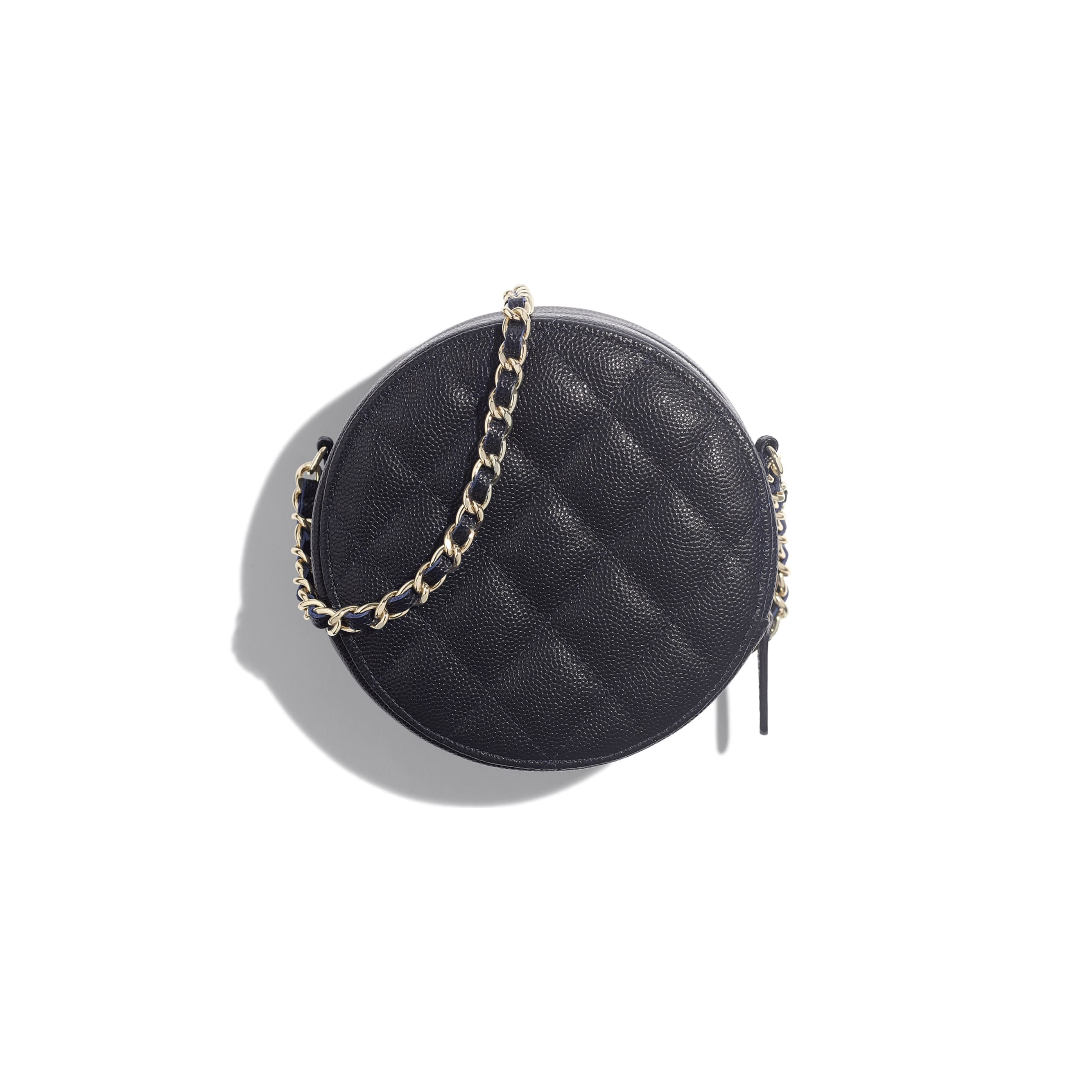 Classic Clutch With Chain - Navy Blue - Grained Calfskin & Gold-Tone Metal - Alternative view - see standard sized version