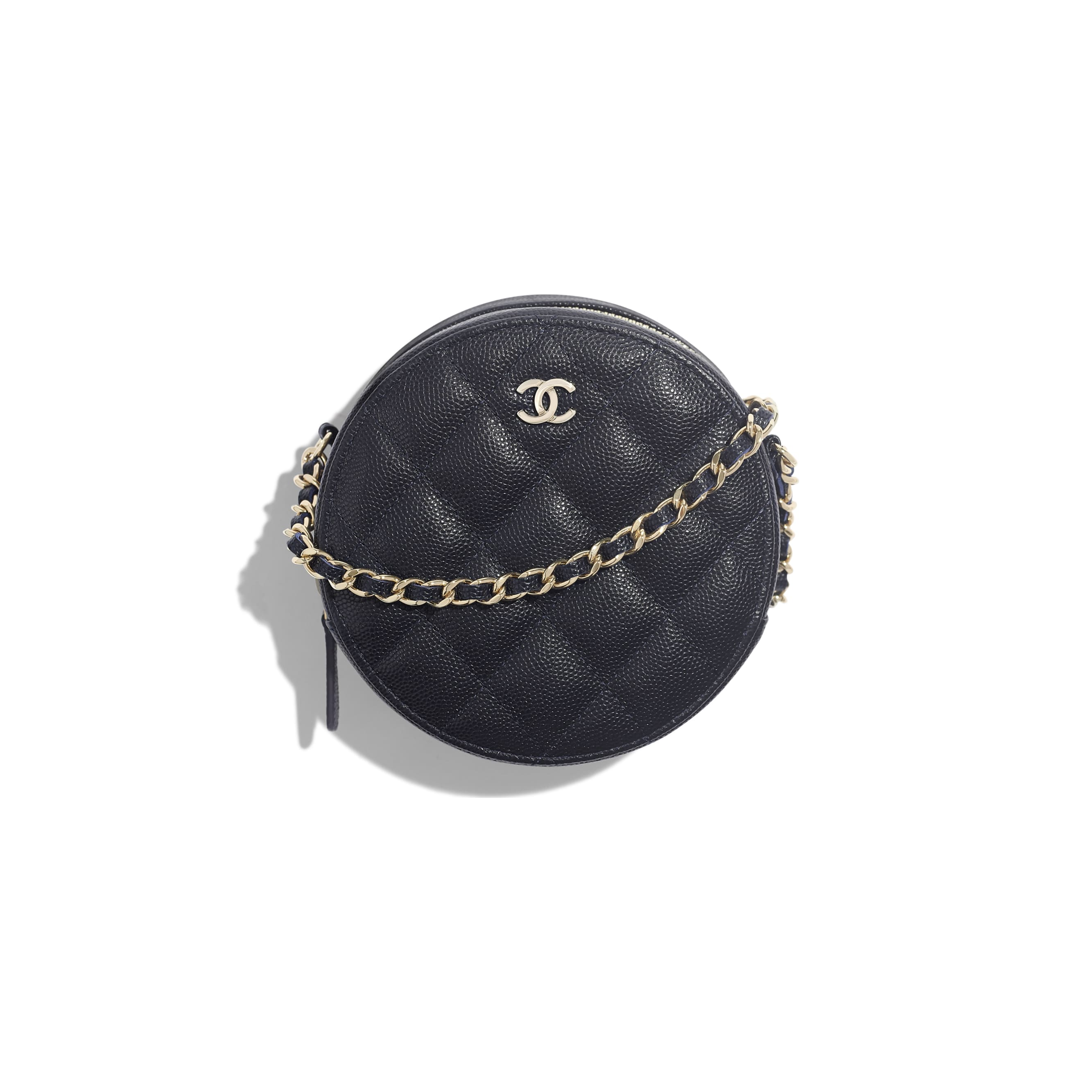 Classic Clutch With Chain - Navy Blue - Grained Calfskin & Gold-Tone Metal - Default view - see standard sized version