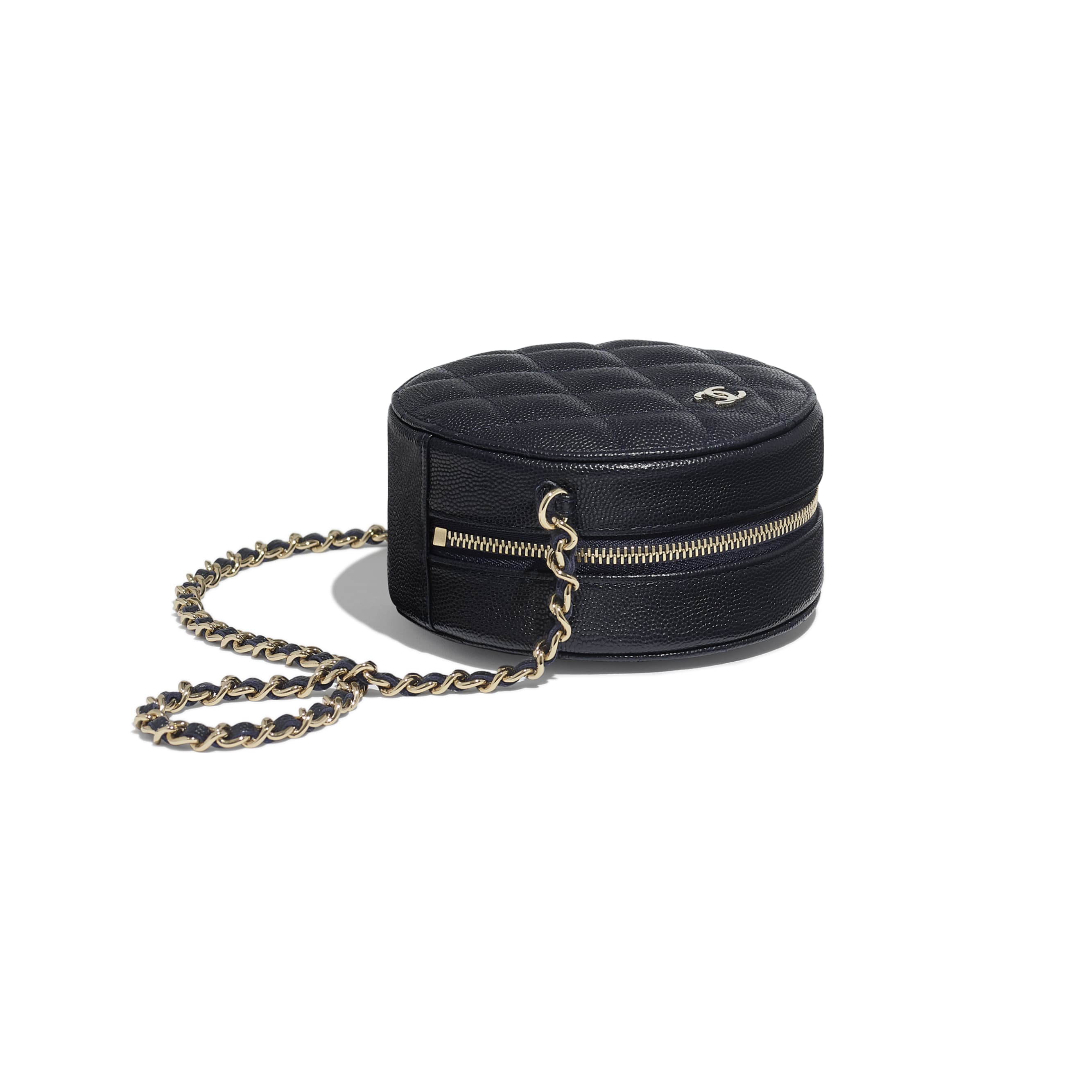 Classic Clutch With Chain - Navy Blue - Grained Calfskin & Gold-Tone Metal - Extra view - see standard sized version