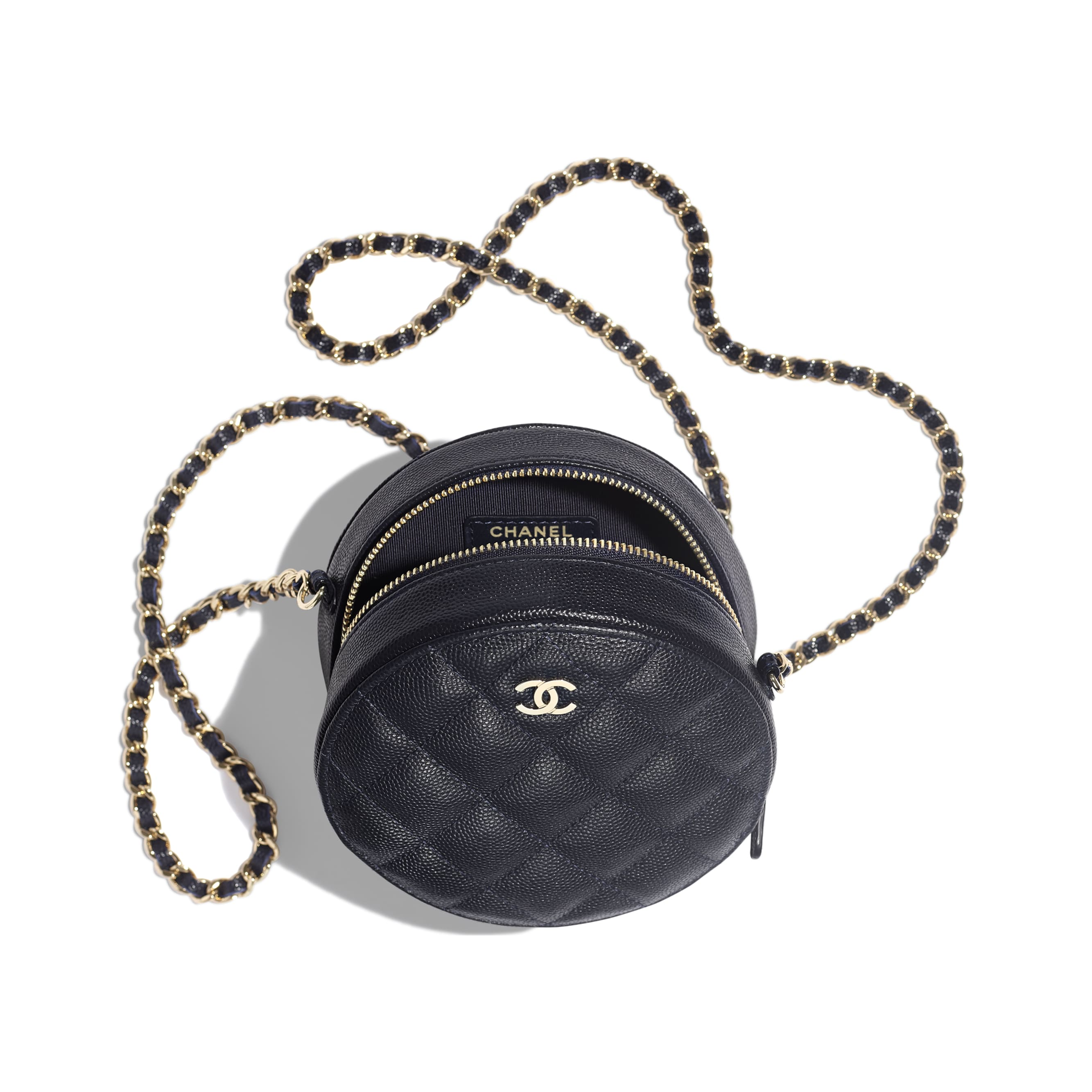 Classic Clutch With Chain - Navy Blue - Grained Calfskin & Gold-Tone Metal - Other view - see standard sized version