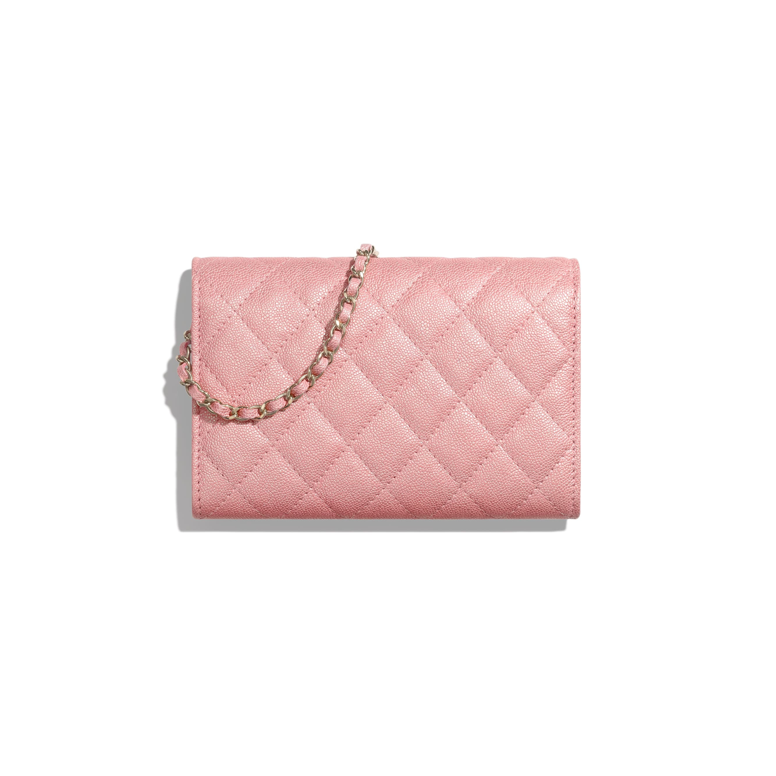 Classic Clutch with Chain - Pink - Iridescent Grained Calfskin & Gold-Tone Metal - Alternative view - see standard sized version