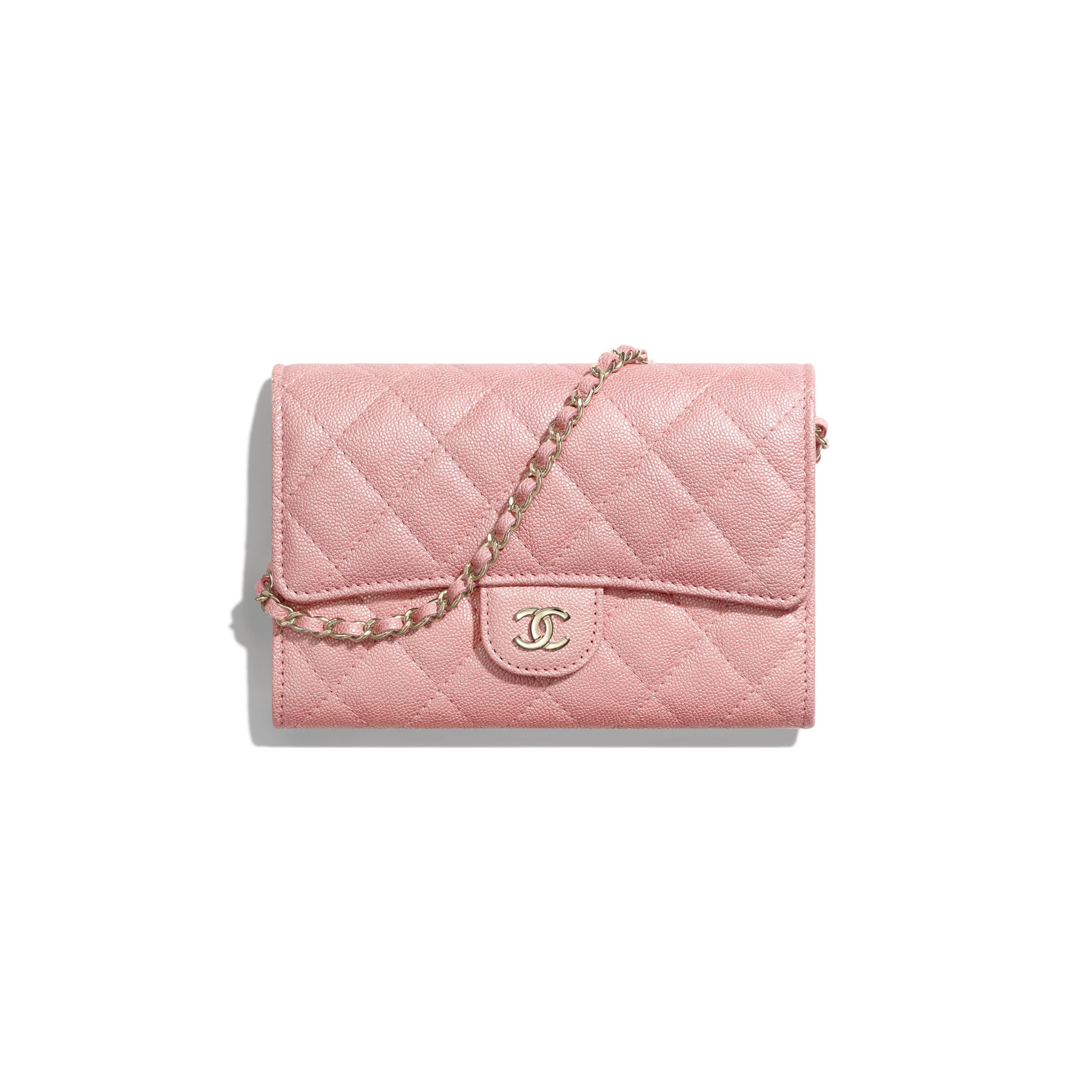 Classic Clutch with Chain - Pink - Iridescent Grained Calfskin & Gold-Tone Metal - Default view - see standard sized version